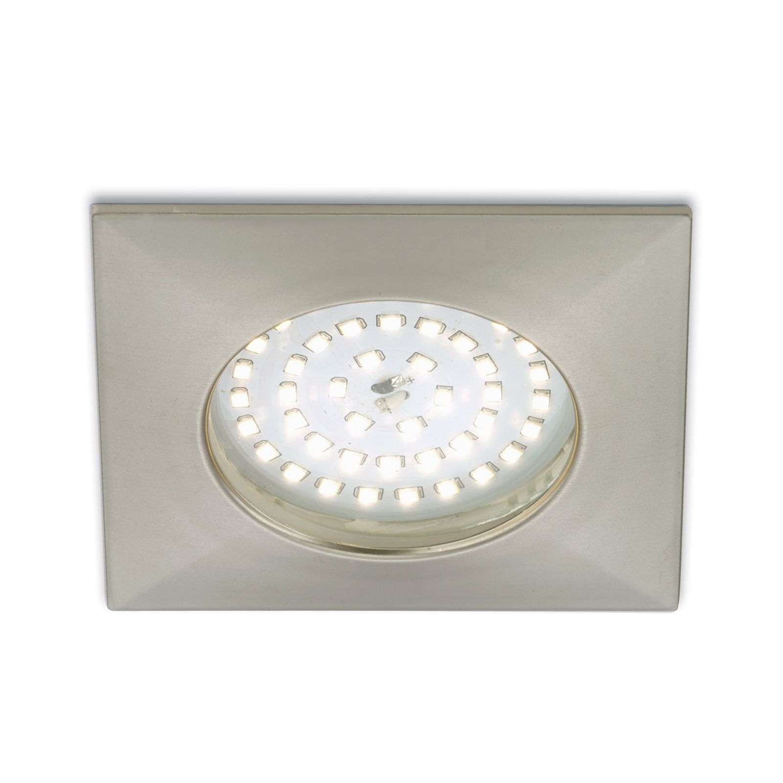 Spot encastré LED blanc chaud Paul en nickel mat