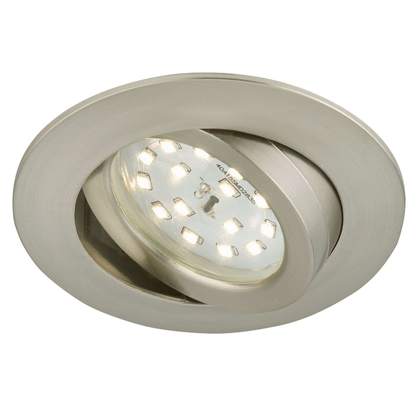 Spot encastré LED orientable Bert nickel mat