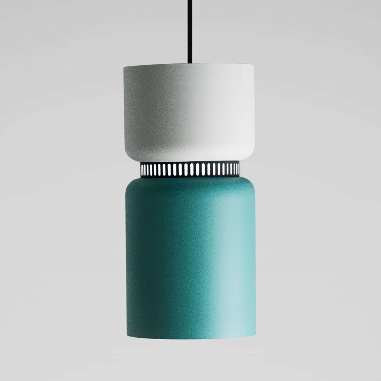 Suspension LED Aspen S blanc-turquoise 17 cm