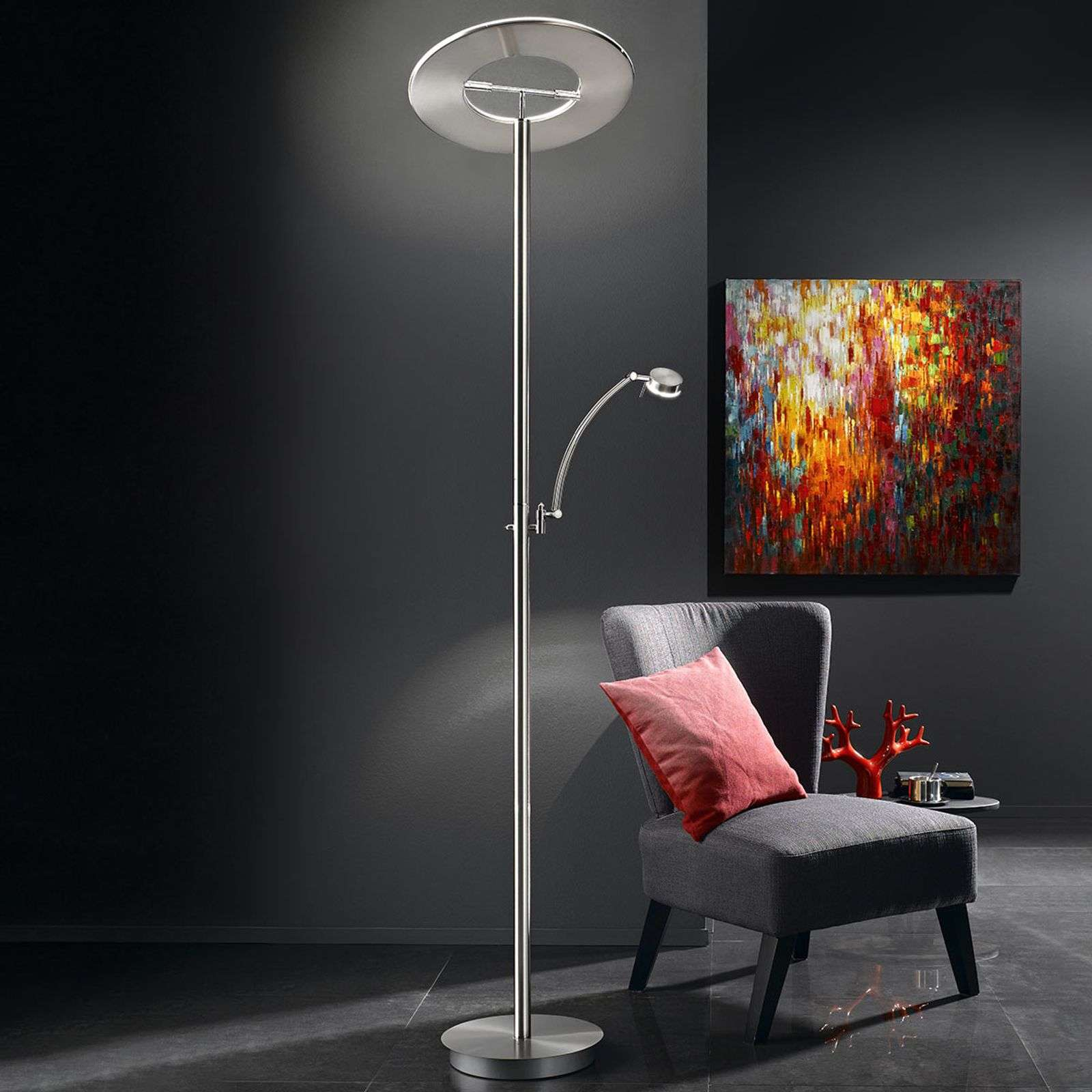 Lampadaire LED Monza, indirect, dimmable, liseuse