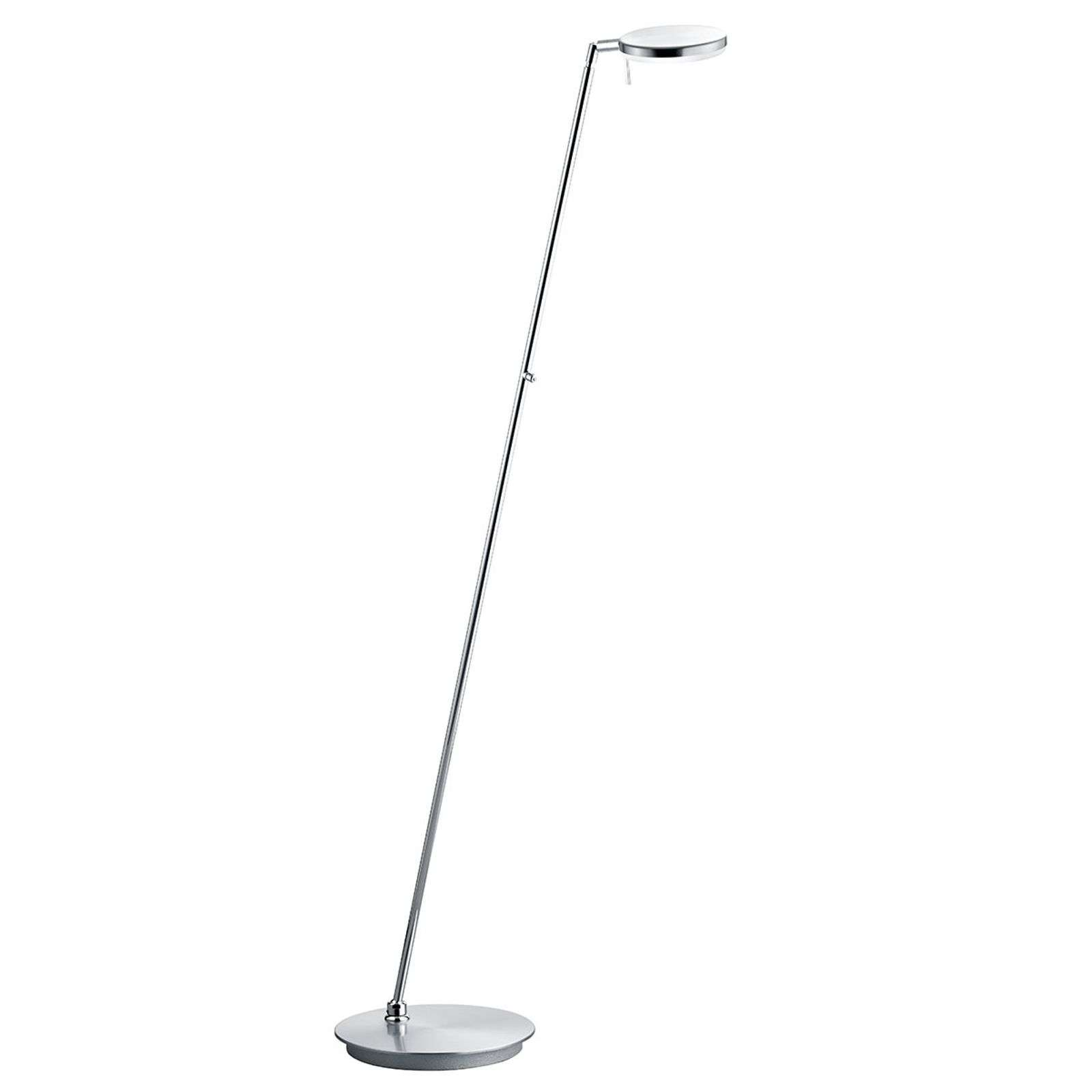 Lampadaire LED Omega pivotant, nickel