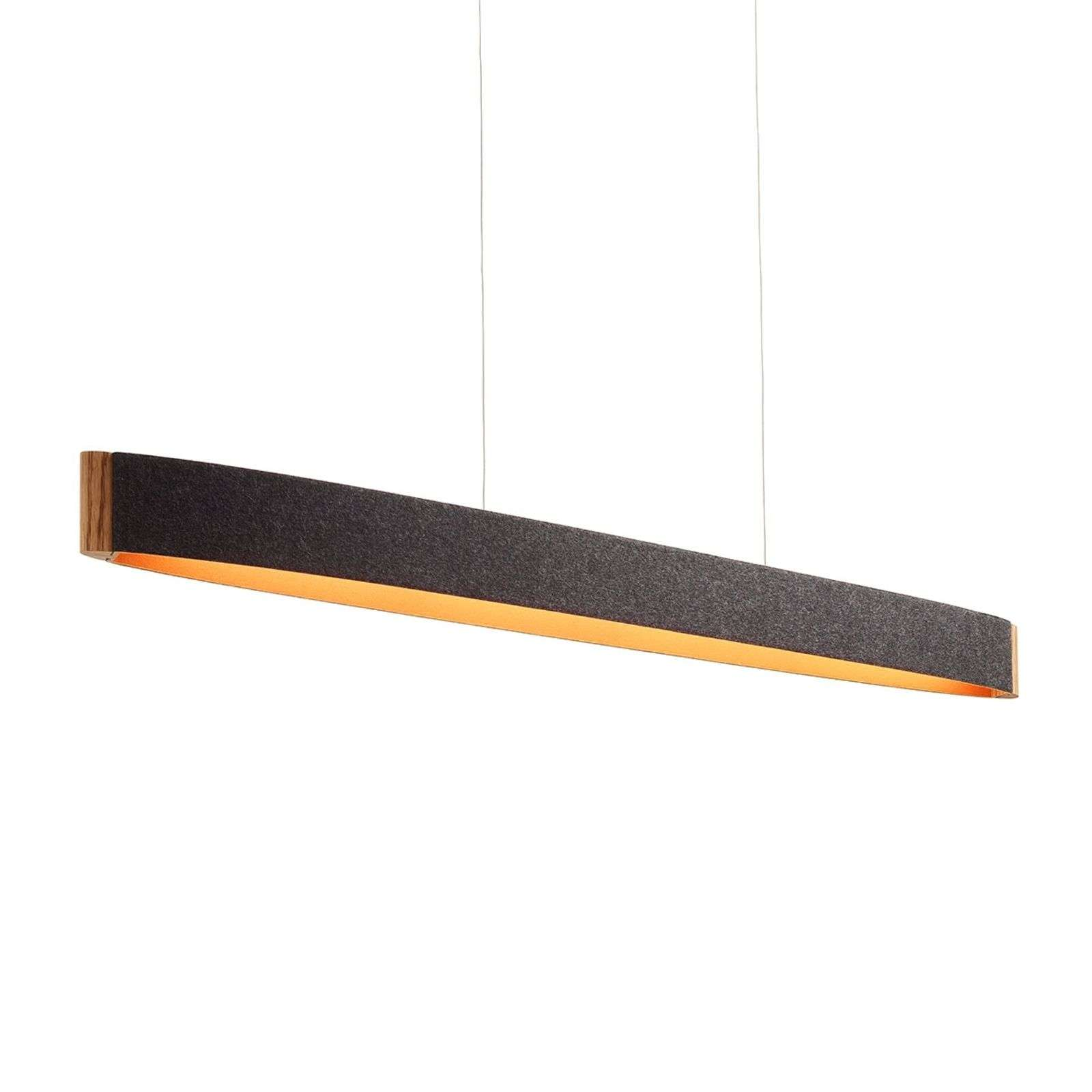 Suspension LED Zep 13 en feutrine graphite orange