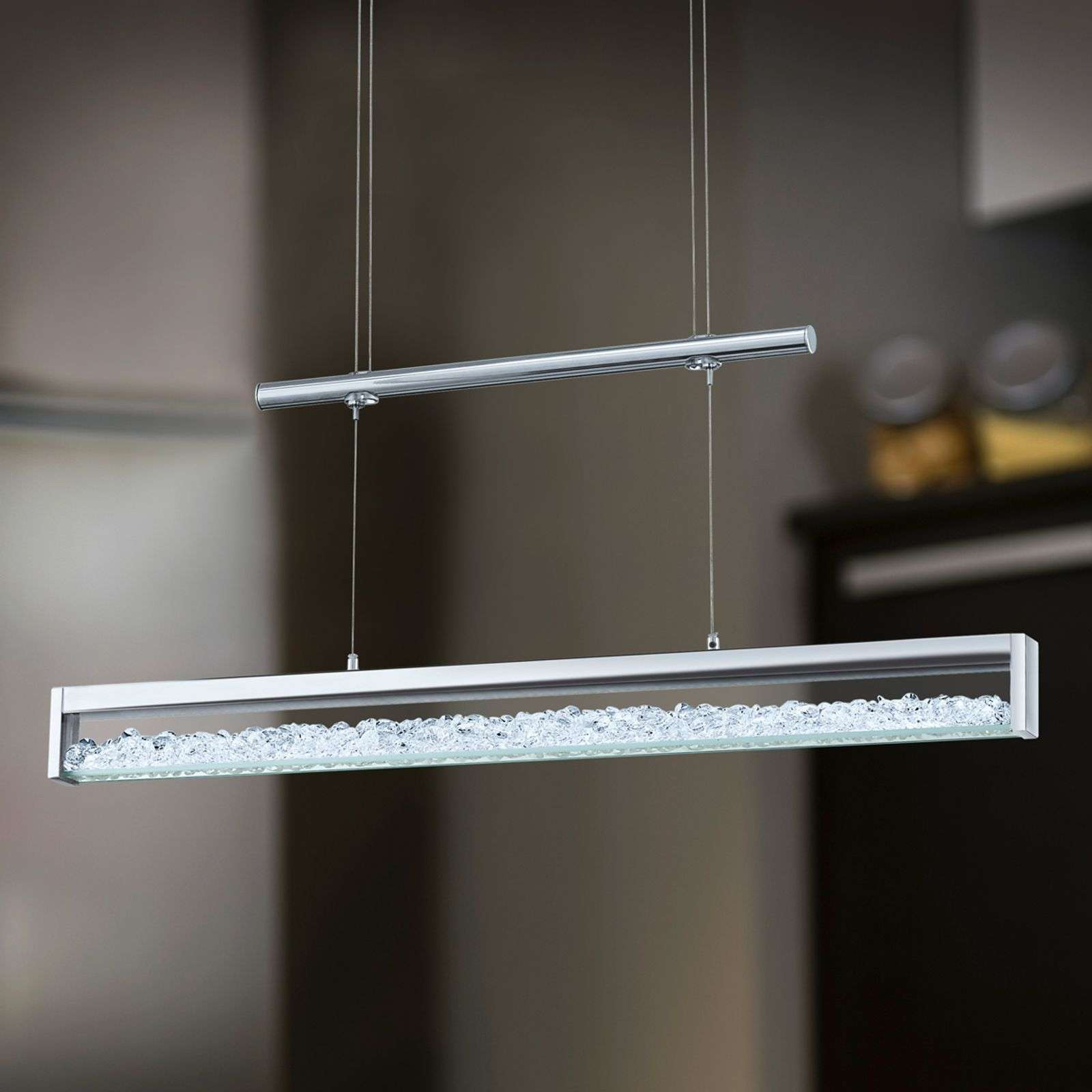 Suspension LED Cardito avec cristal Asfour 70 cm