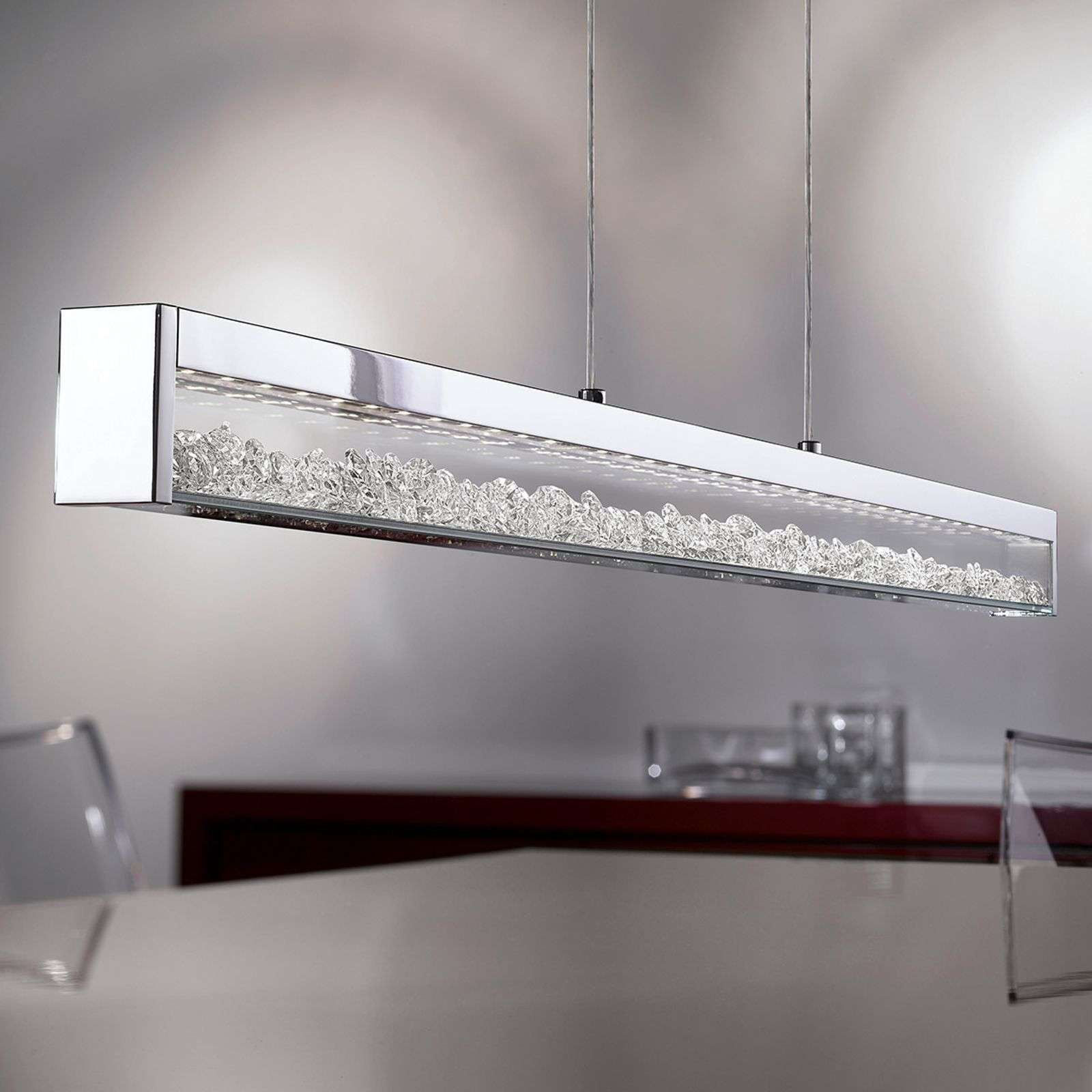 Suspension LED Cardito avec cristal Asfour longueu