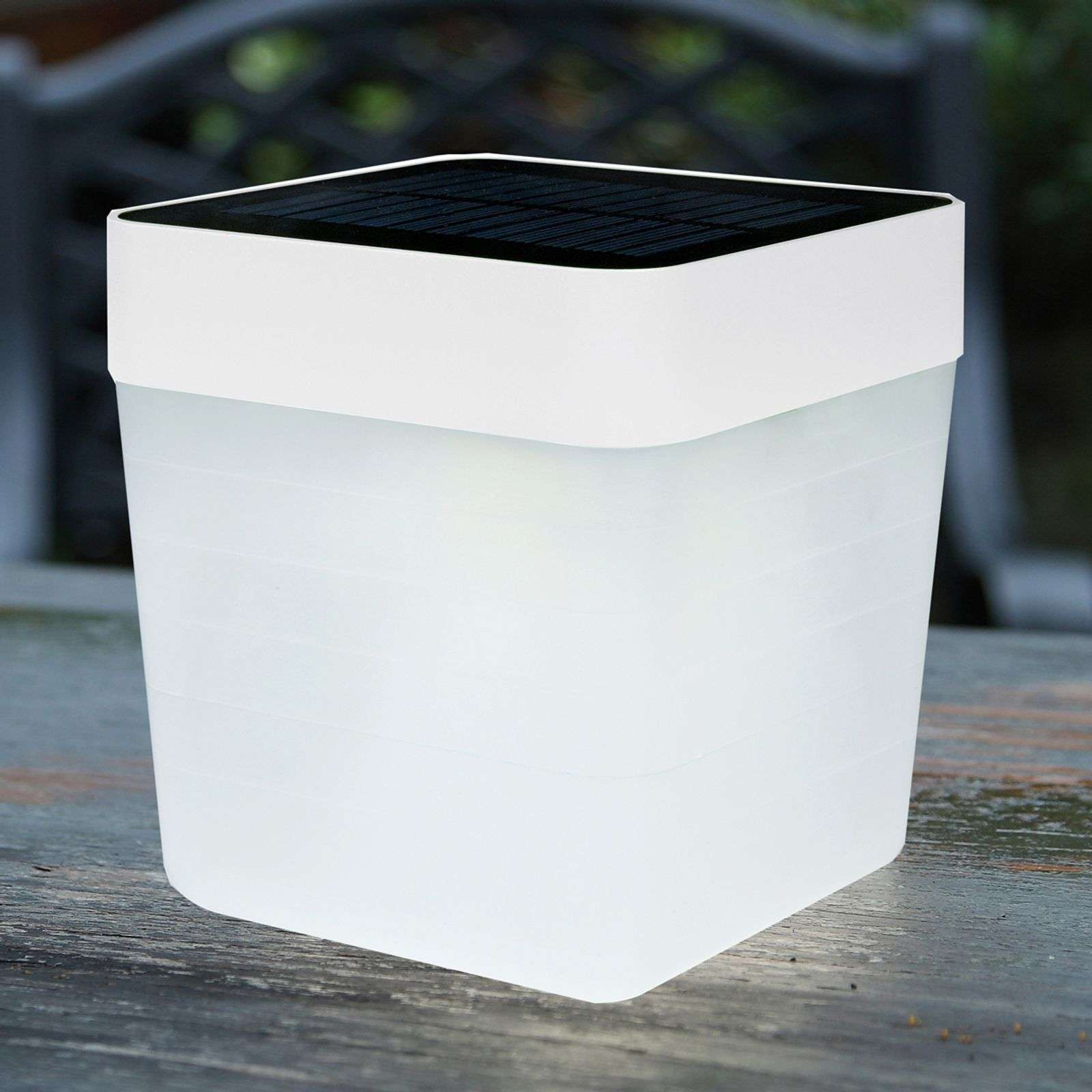 Lampe à poser LED solaire blanche Table Cube