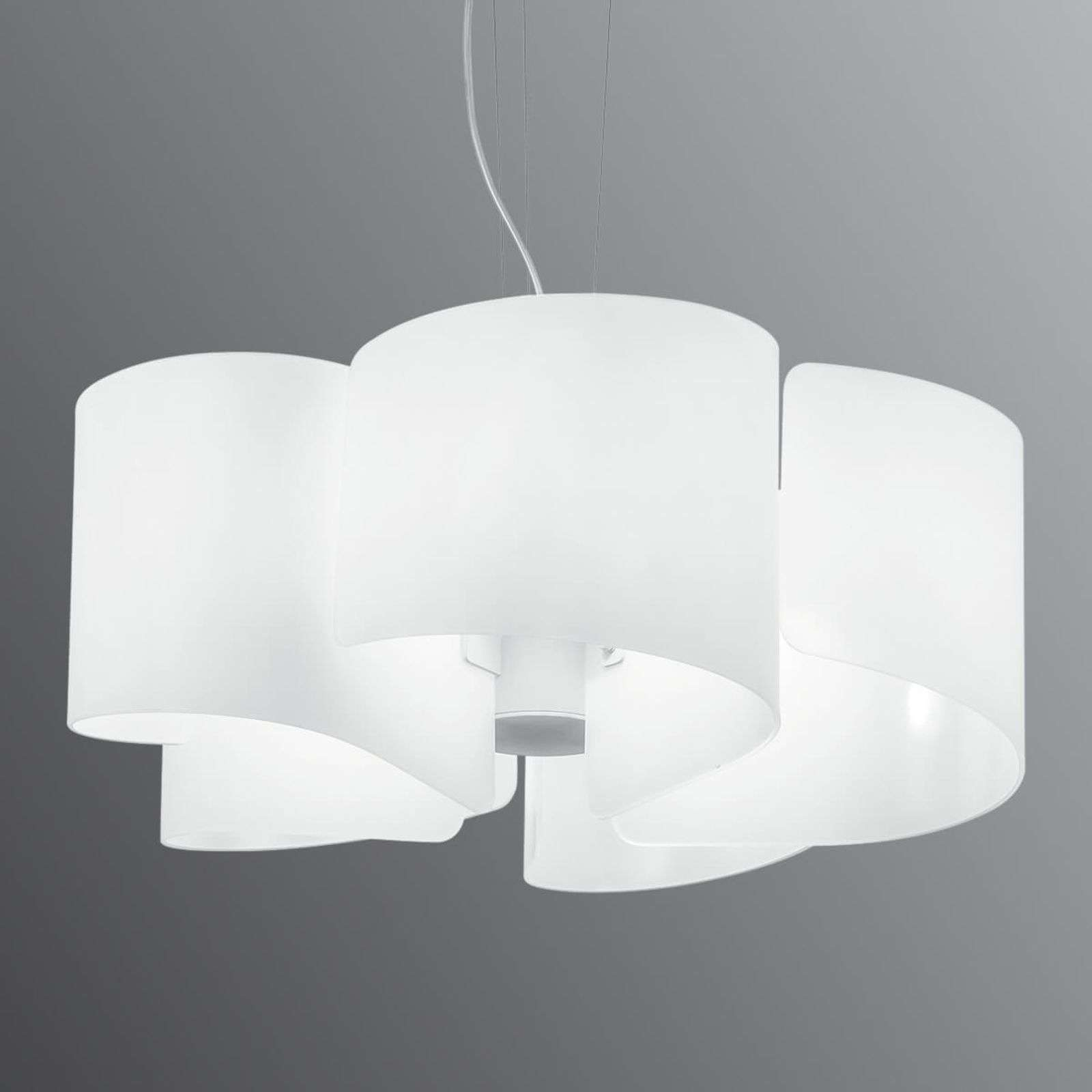 Suspension en verre courbe Imagine, blanc