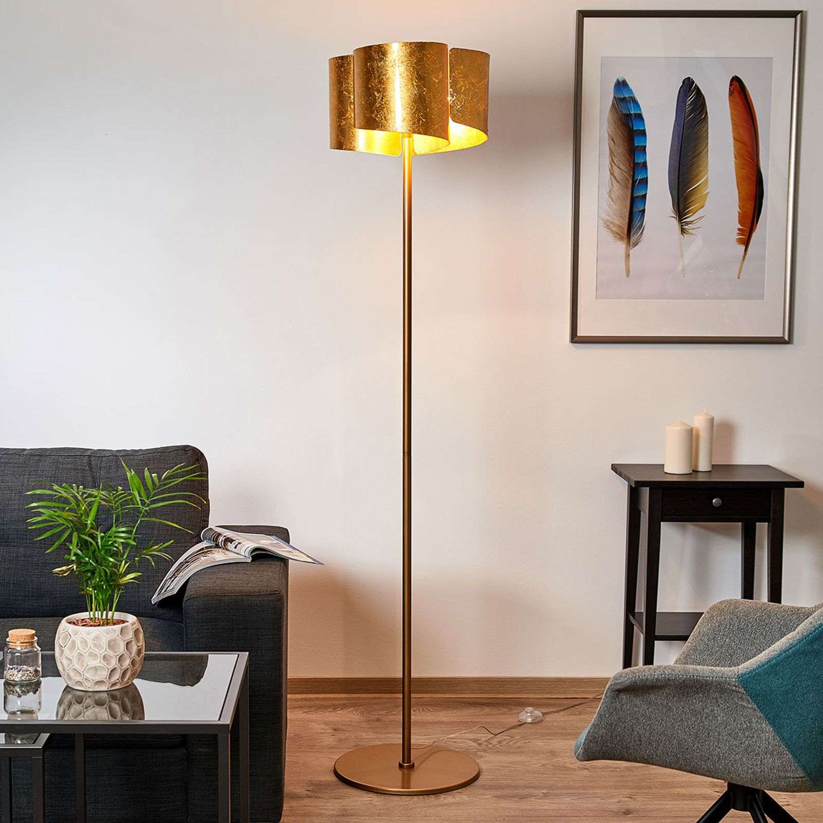 Lampadaire exclusif Imagine en doré