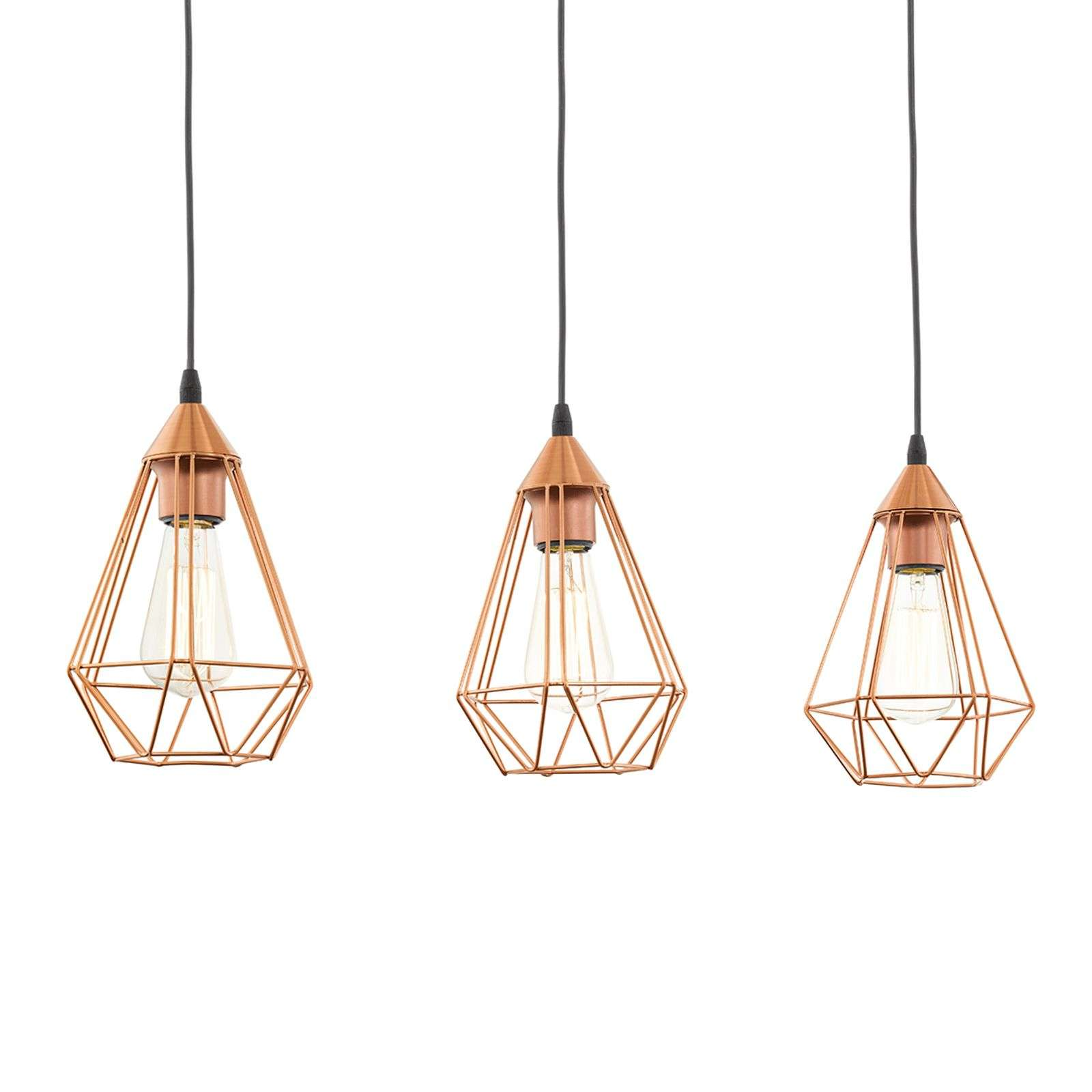 Suspension Vintage 3 lampes, finition cuivre