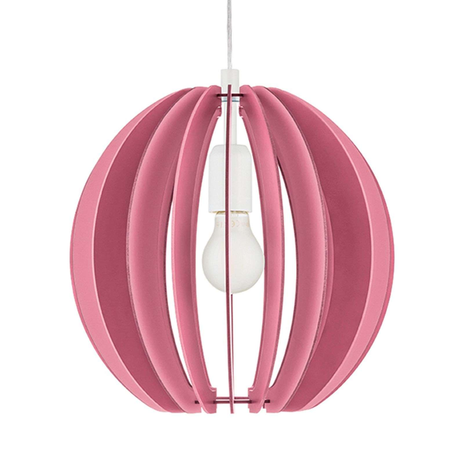 Suspension Fabella rose, lamelles de bois