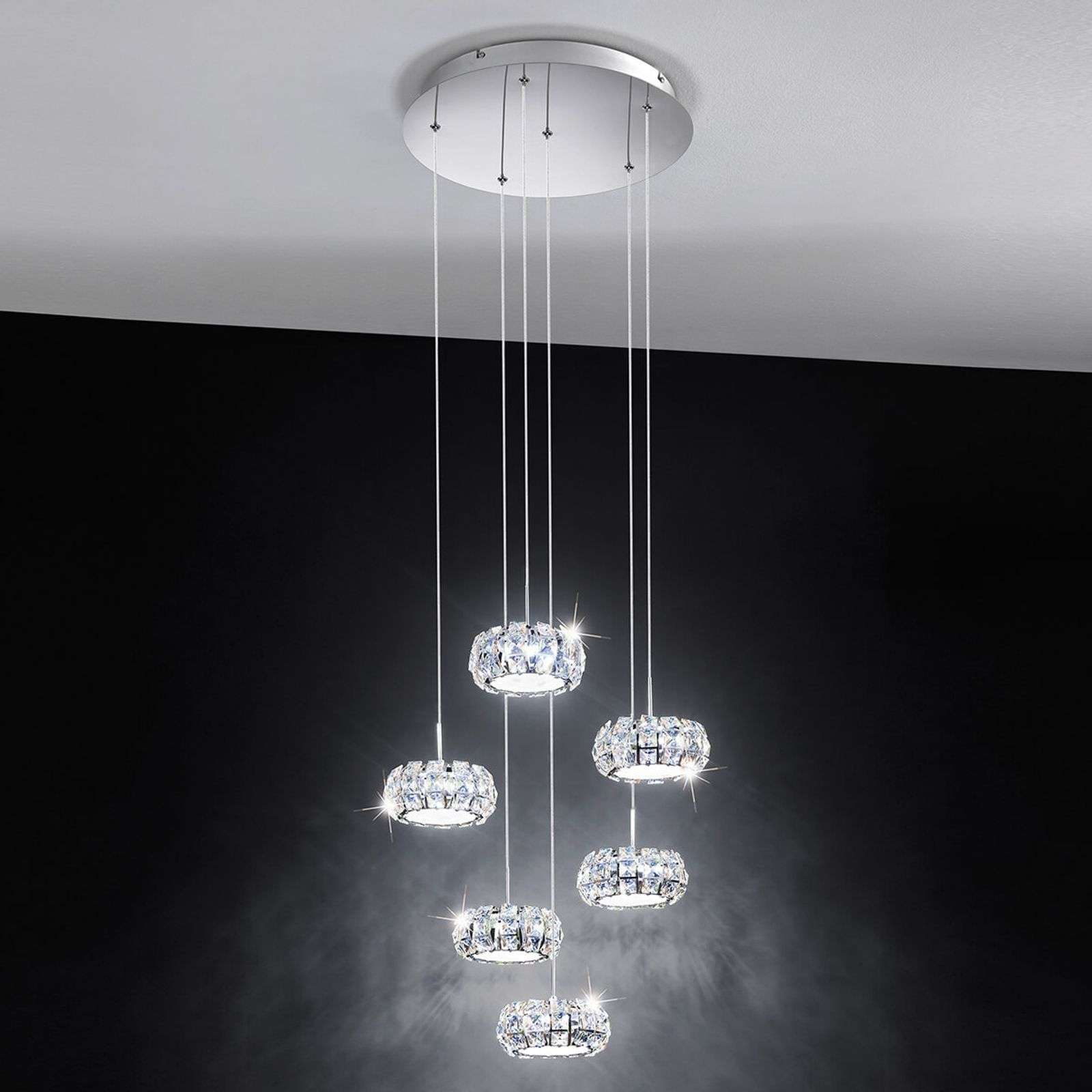 Suspension LED originale Corliano à 6 lampes