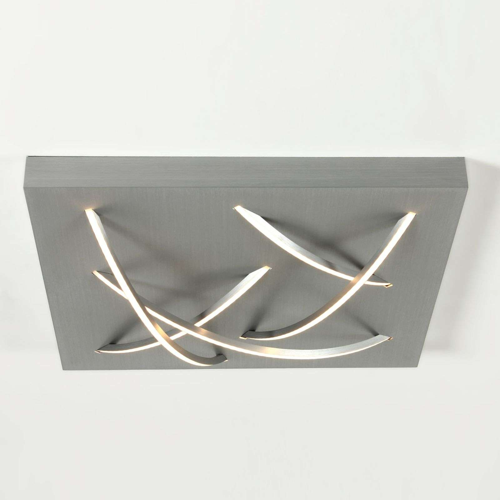 Plafonnier LED Curved carré, aluminium