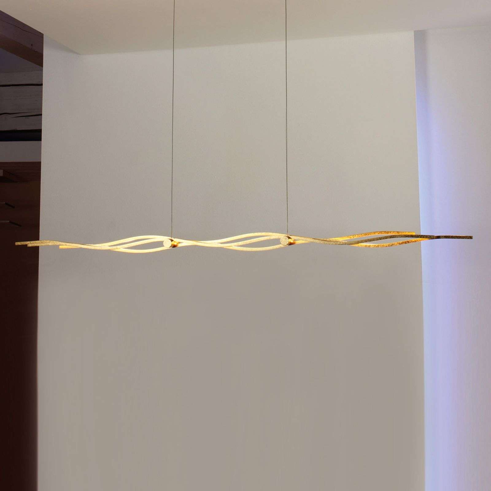 Suspension LED Silk feuilles d'or 120 cm