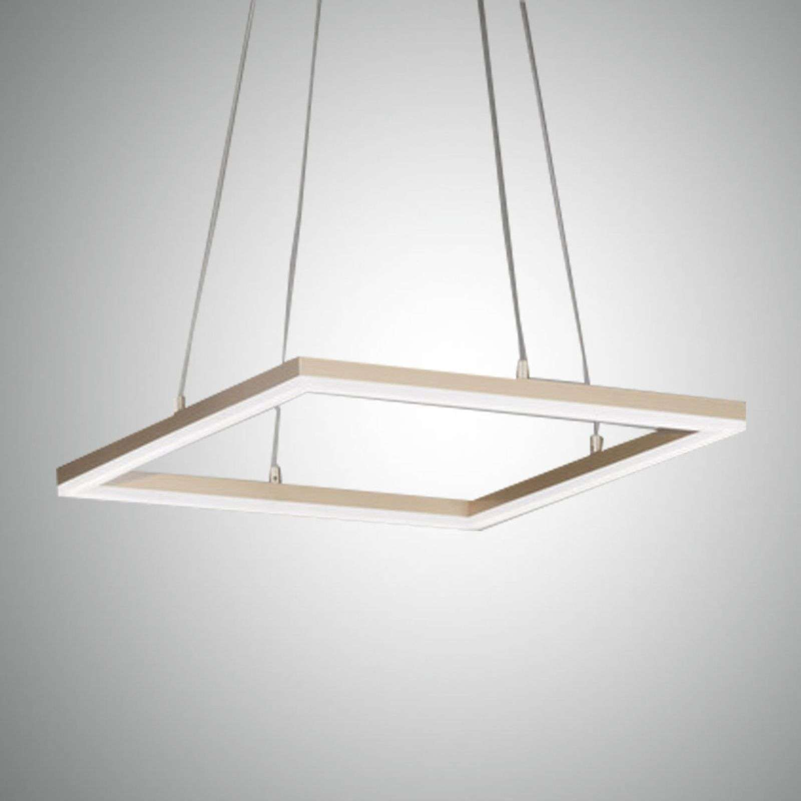 Suspension LED Bard 42x42 cm en finition doré mat