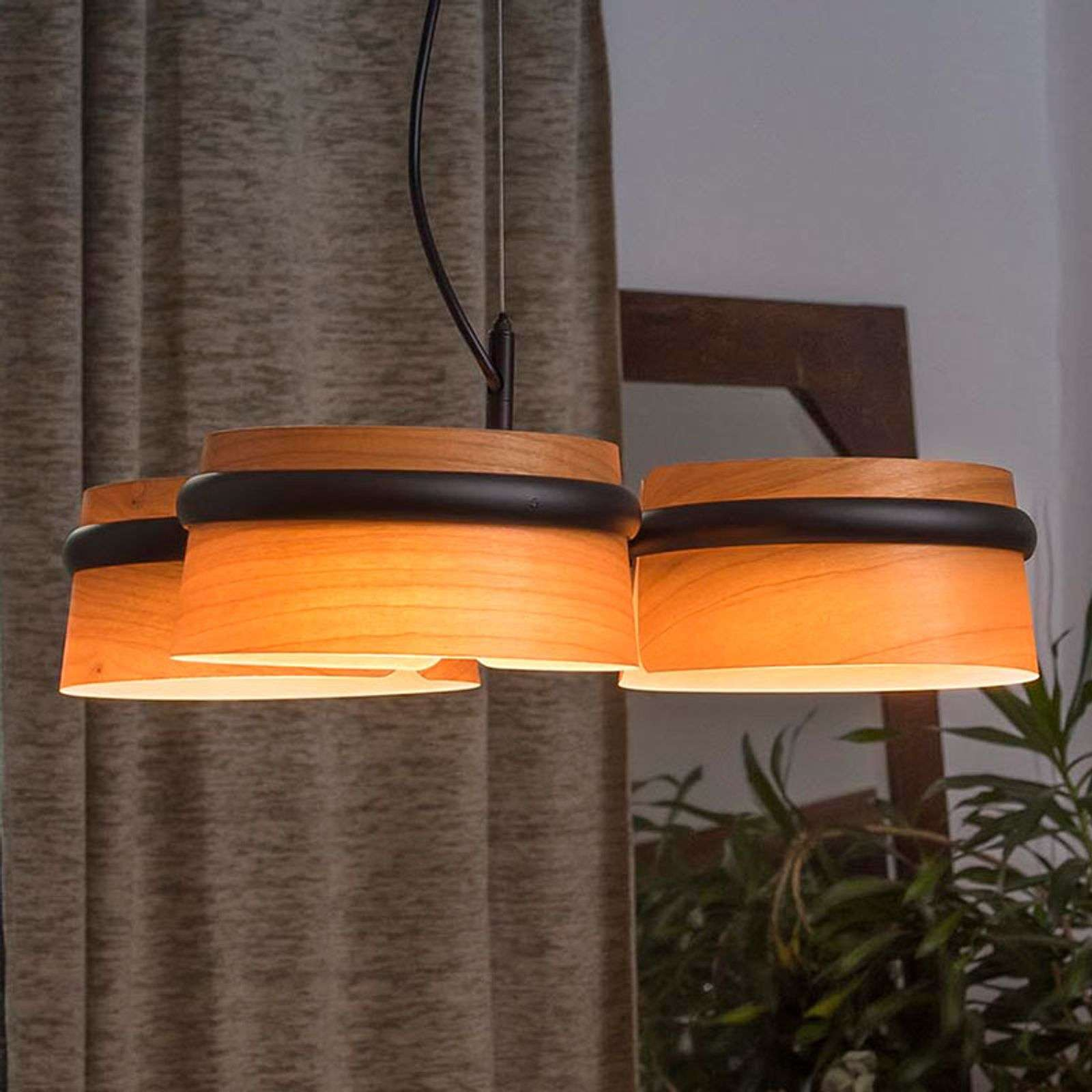 Suspension LED Loop dimmable aspect bois