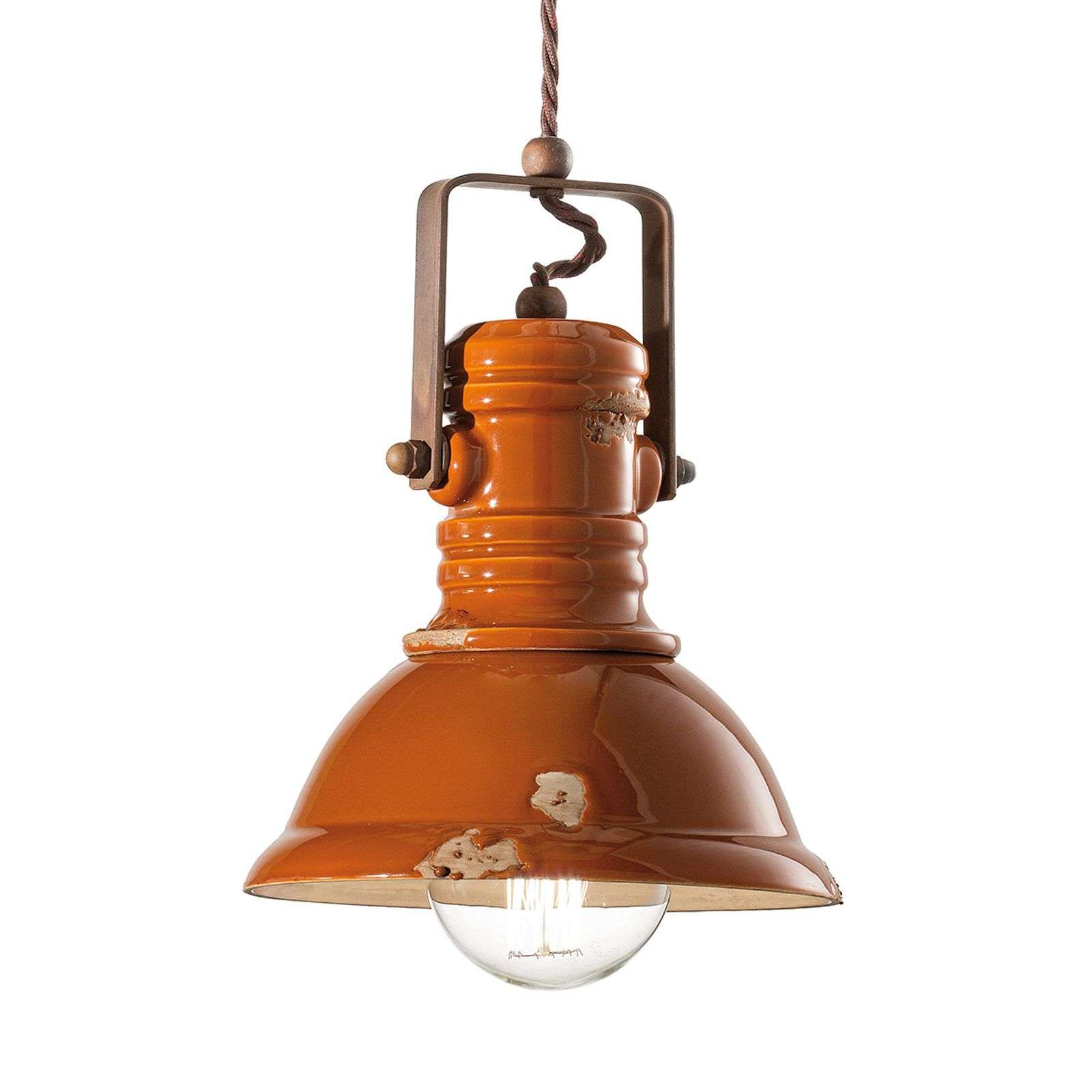 Suspension C1691 au design industriel orange