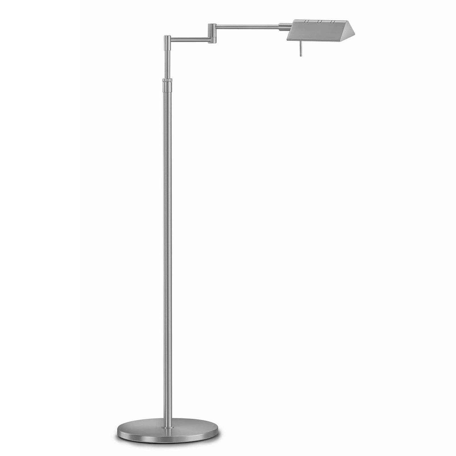 Lampadaire LED réglable Danuta, nickel mat