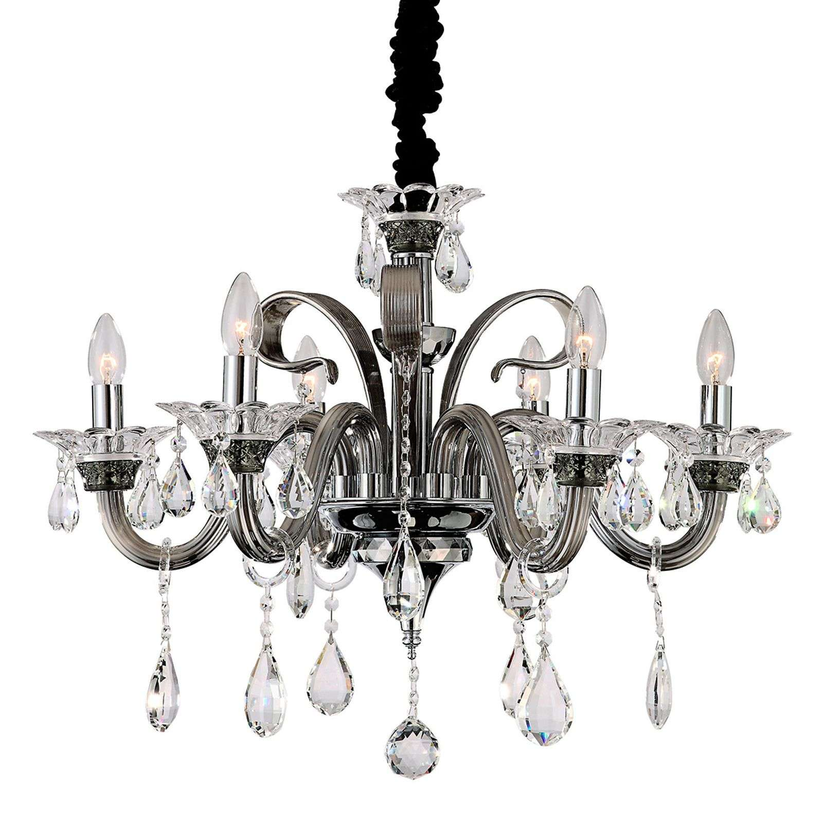 Suspension six lampes Viktor, pendeloques cristal