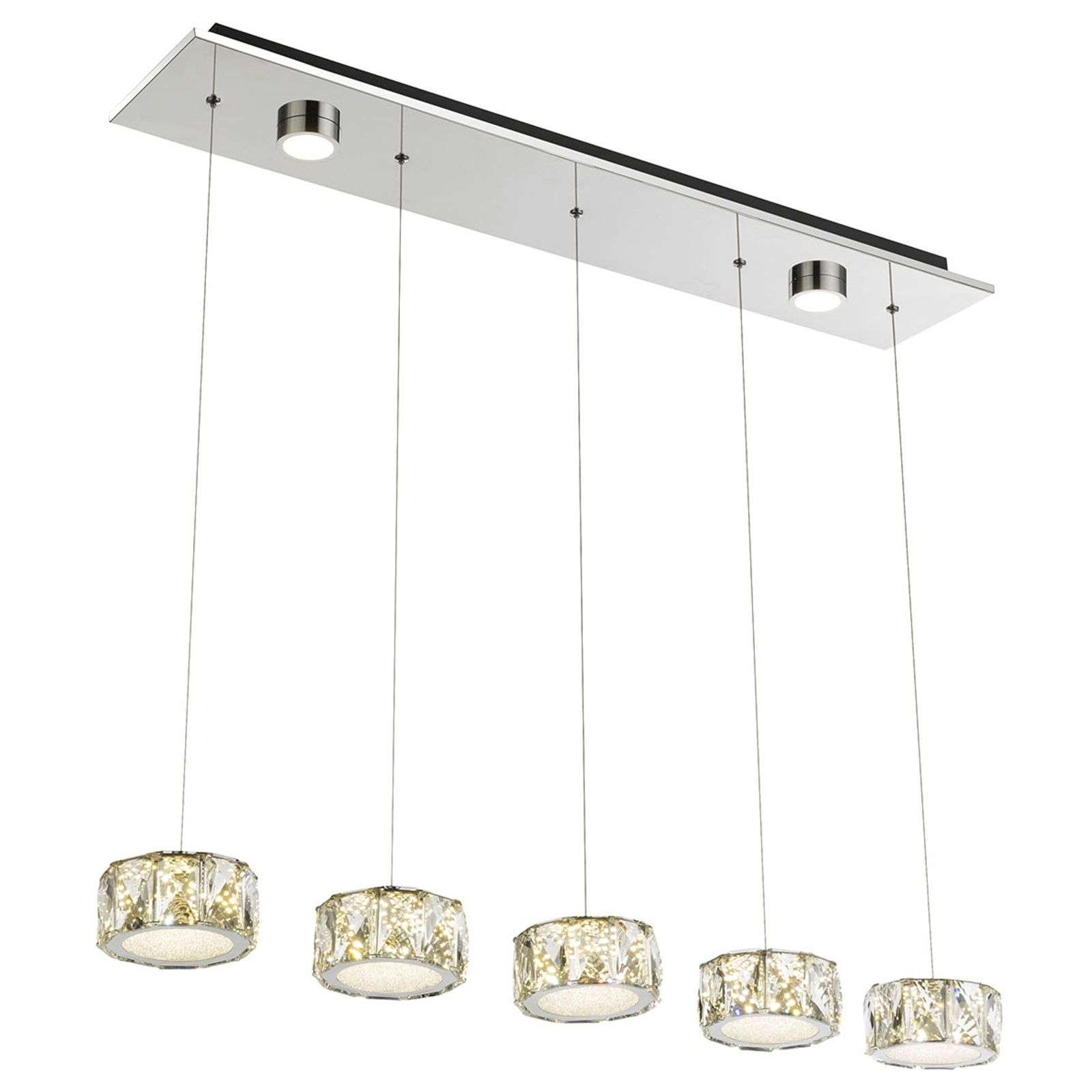 Amur - suspension LED à 5 lampes, avec 2 spots