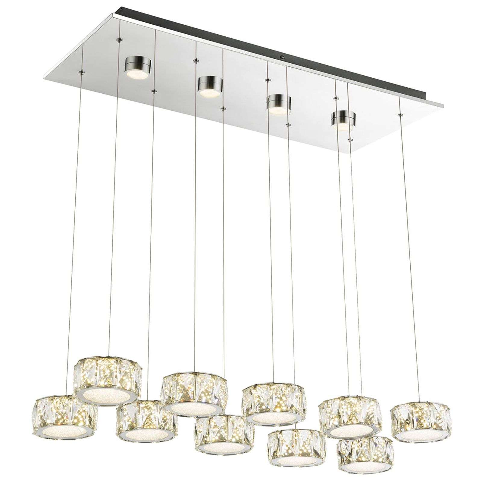Suspension LED à 10 lampes Amur avec quatre spots