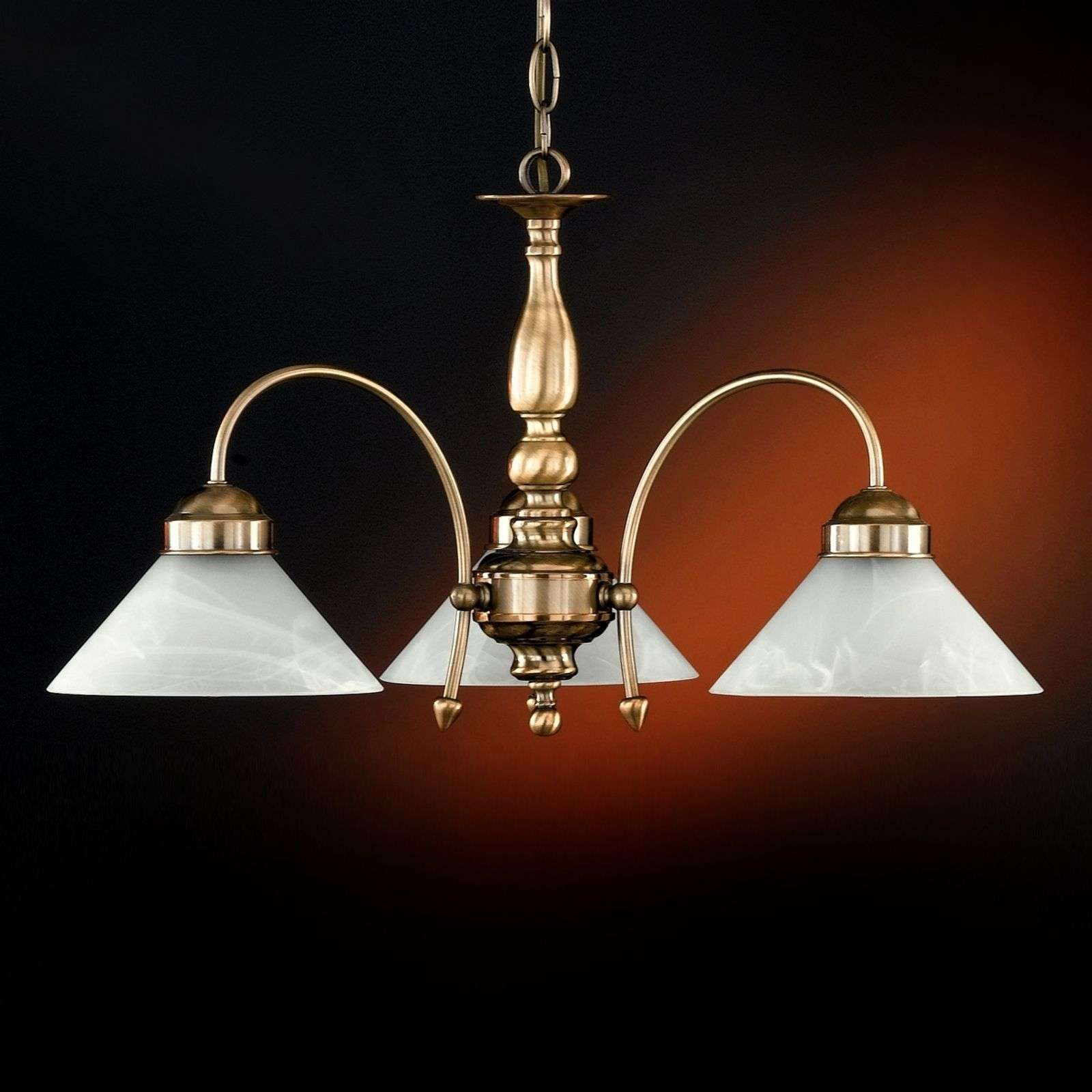 Suspension ANTWERPEN 3 lampes laiton antique