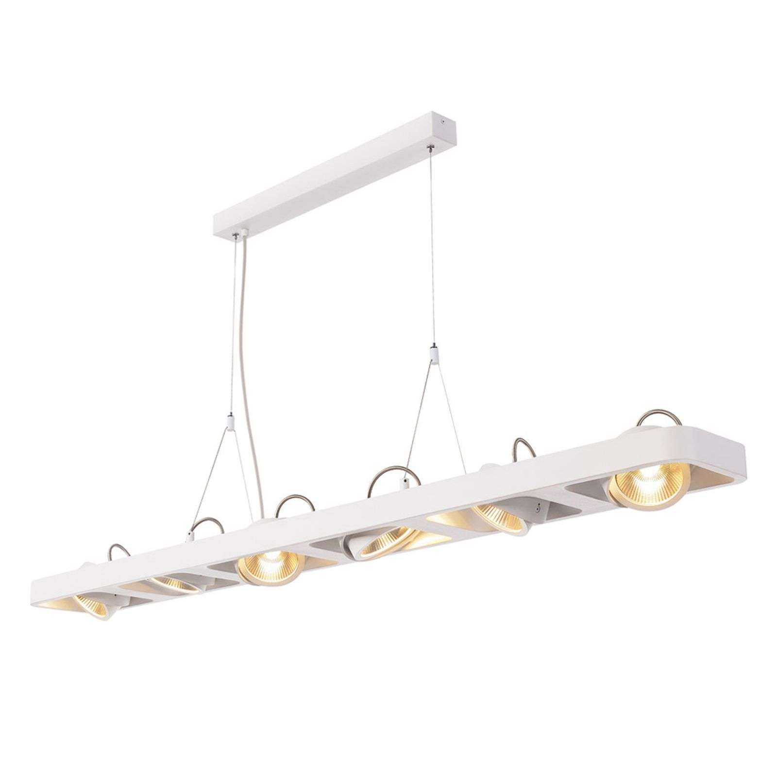 Suspension LED Lynah à six lampes, blanche