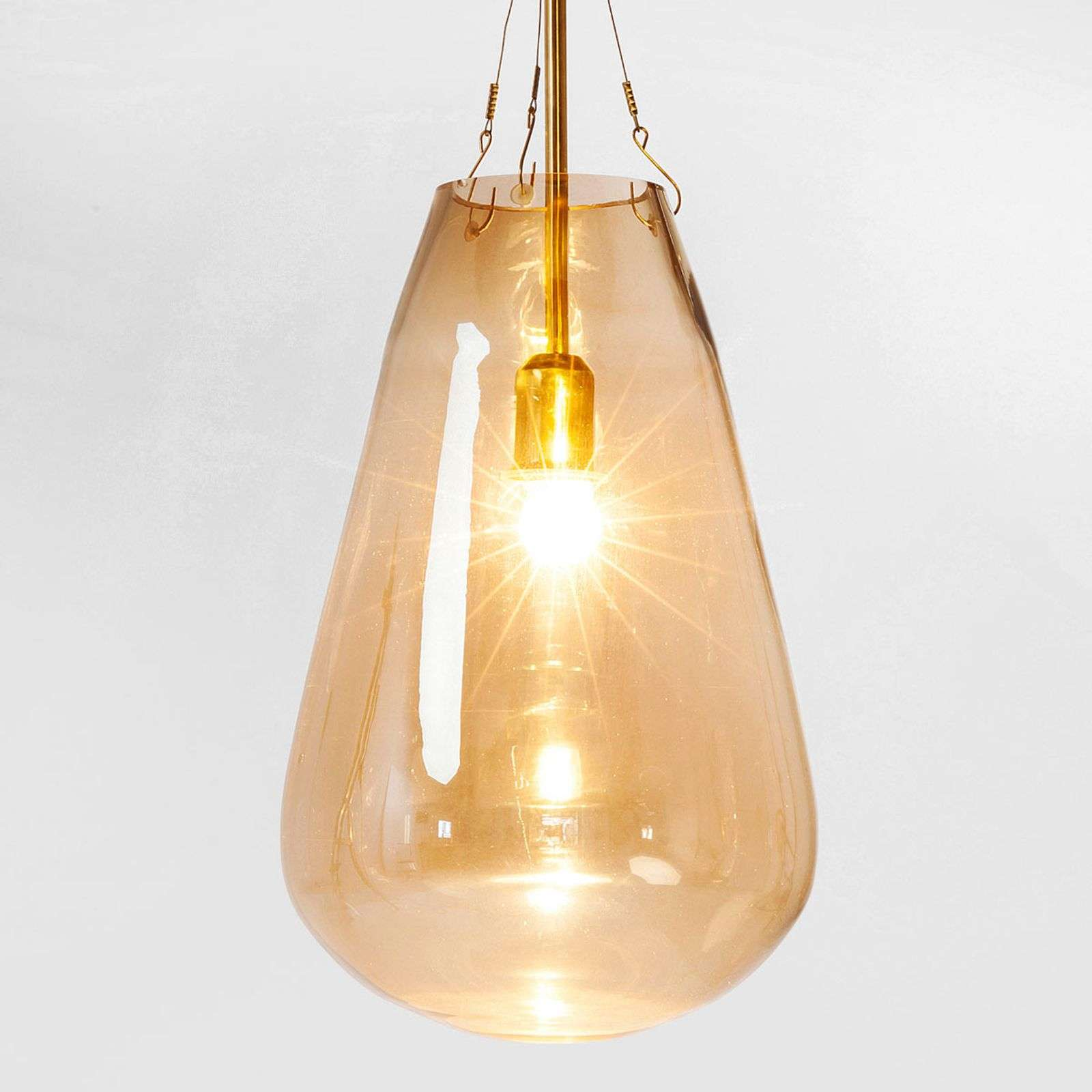 Jolie suspension Dusty Bell Gold en verre