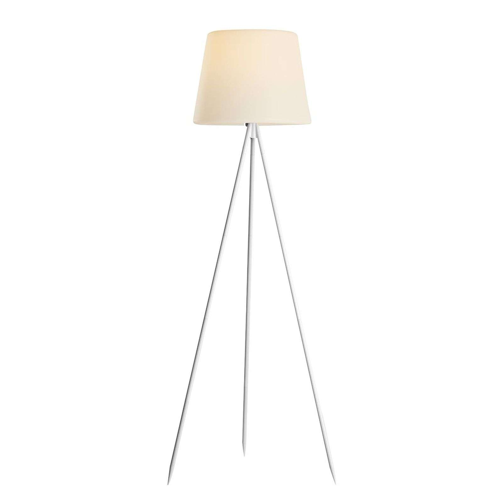 Lampadaire solaire LED Nerea, support blanc