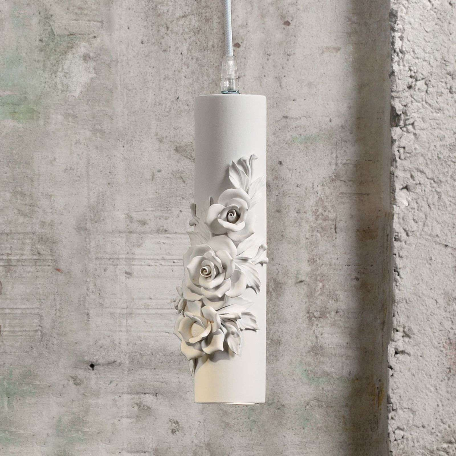 Suspension LED design Capodimonte en céramique