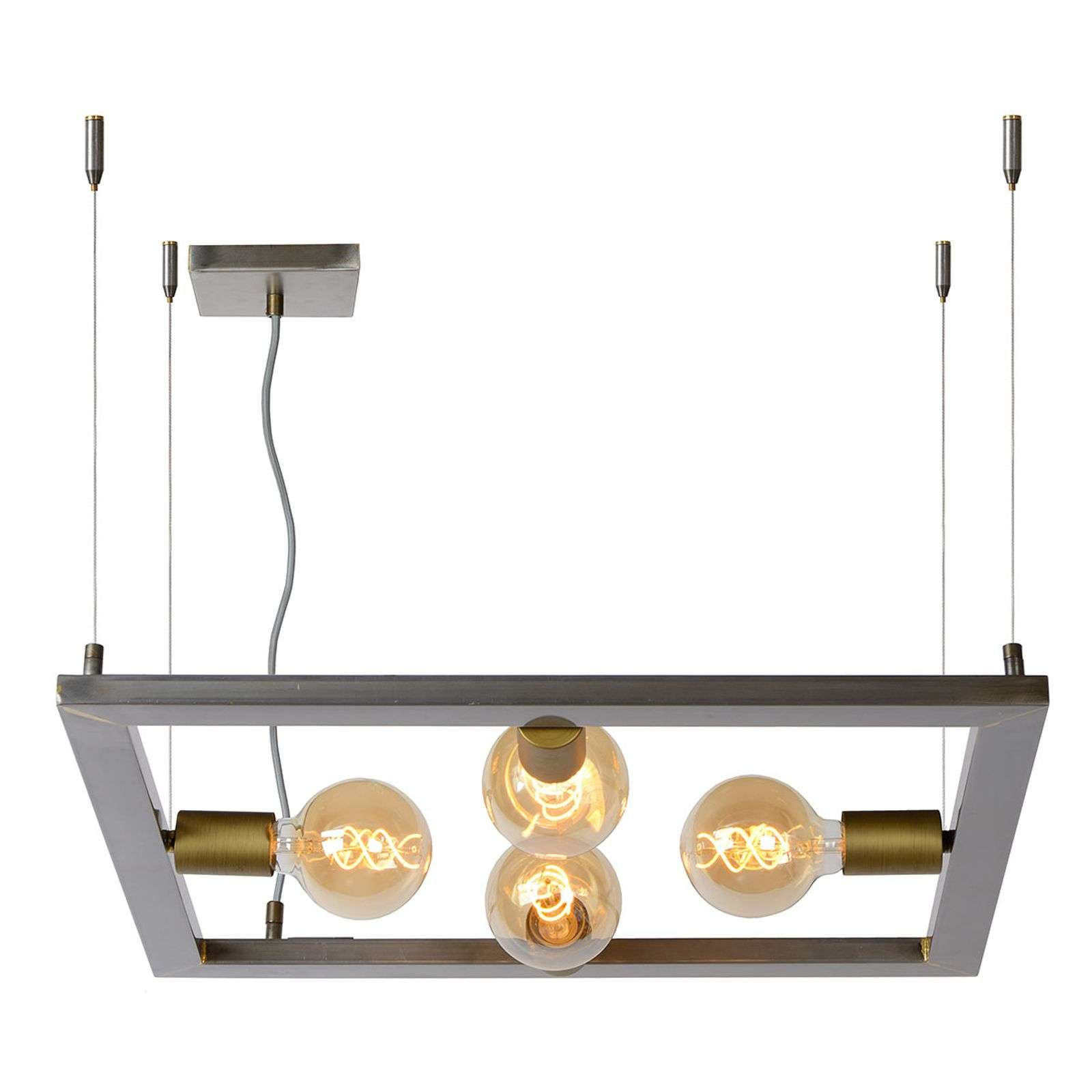 Suspension Thor quatre lampes, fer brut