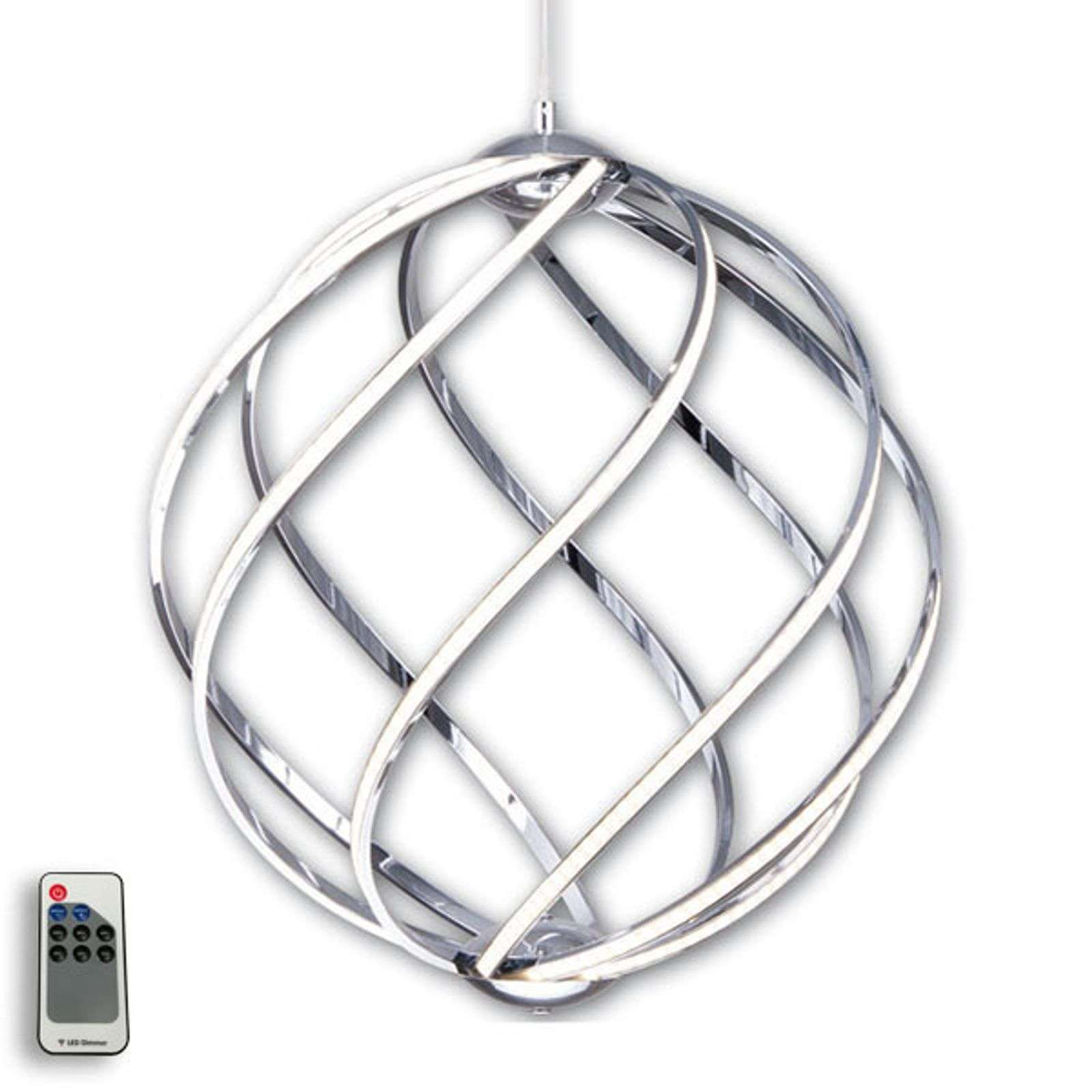 Suspension LED Twist élégante, chromée Ø 46 cm