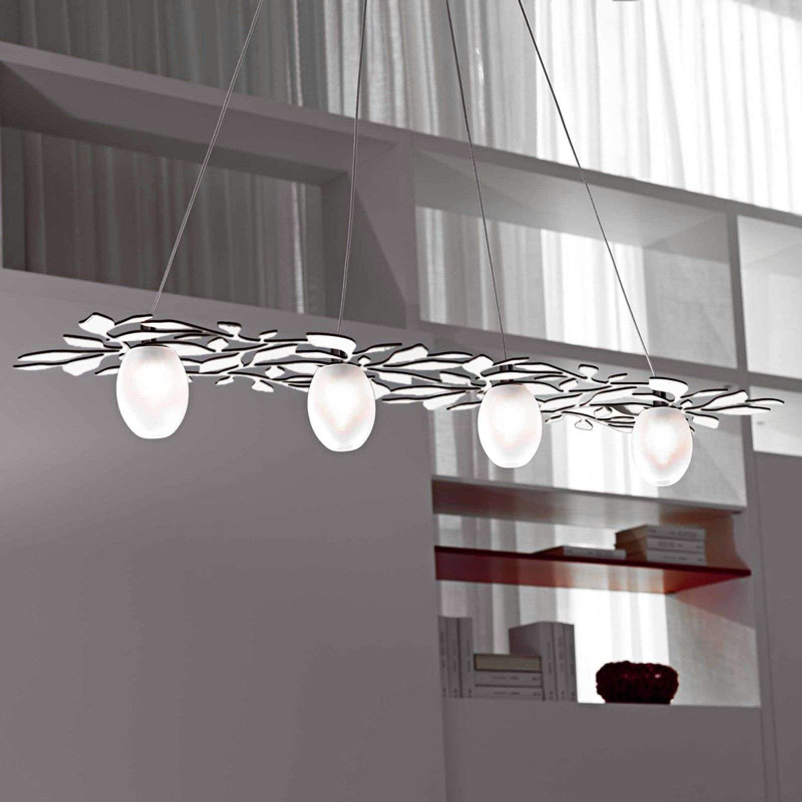 Suspension nature Arbos à 4 lampes blanc
