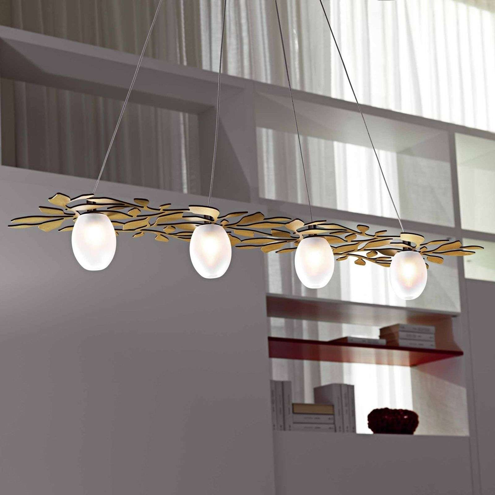 Suspension nature Arbos à 4 lampes doré antique