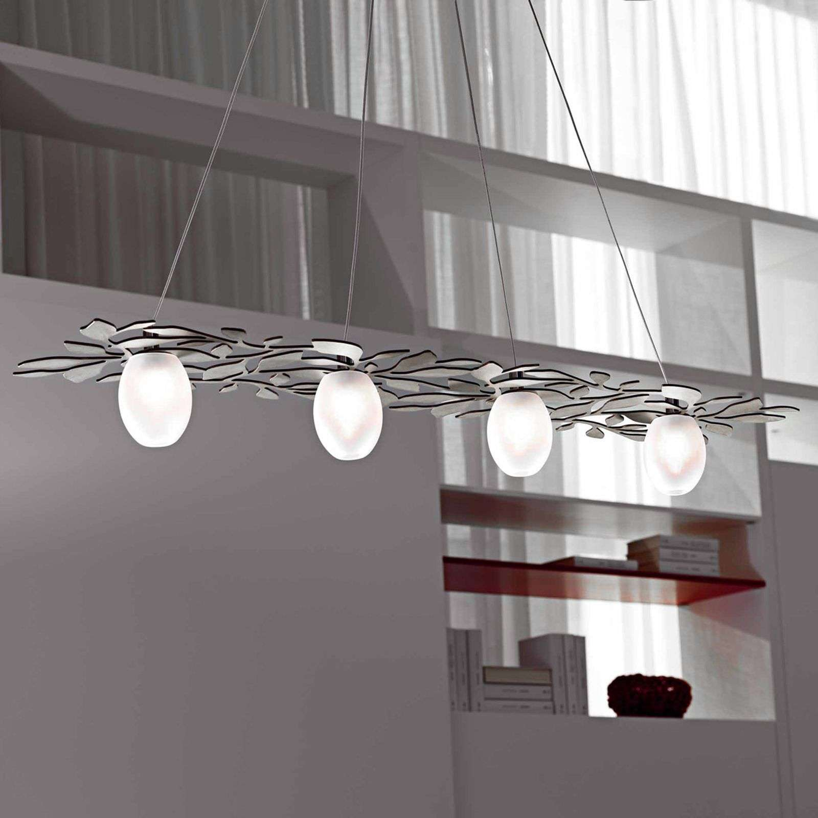 Suspension nature Arbos à 4 lampes nickel poli