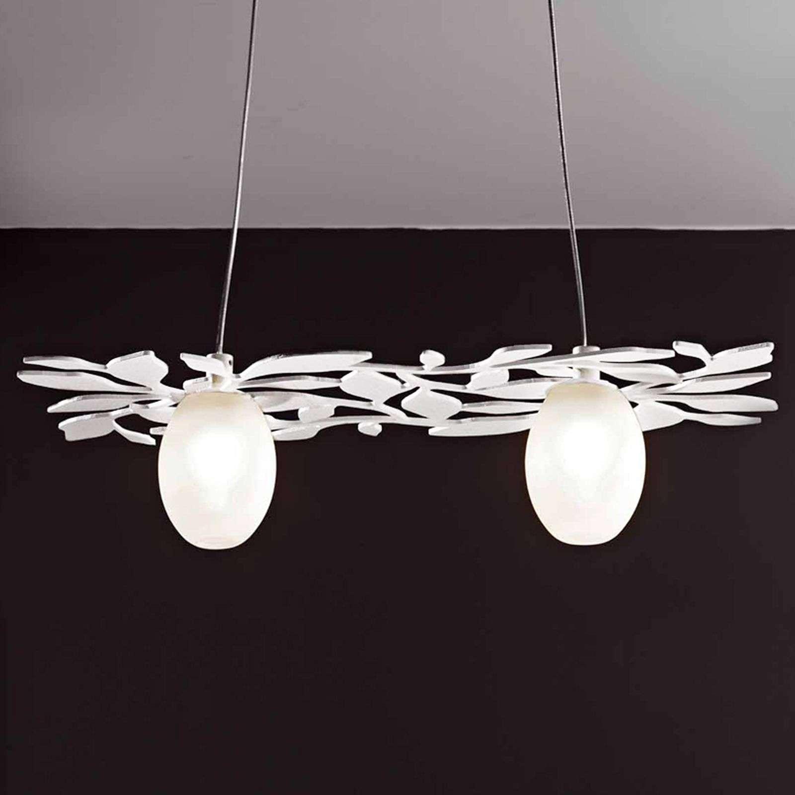Belle suspension Arbos à 2 lampes blanc