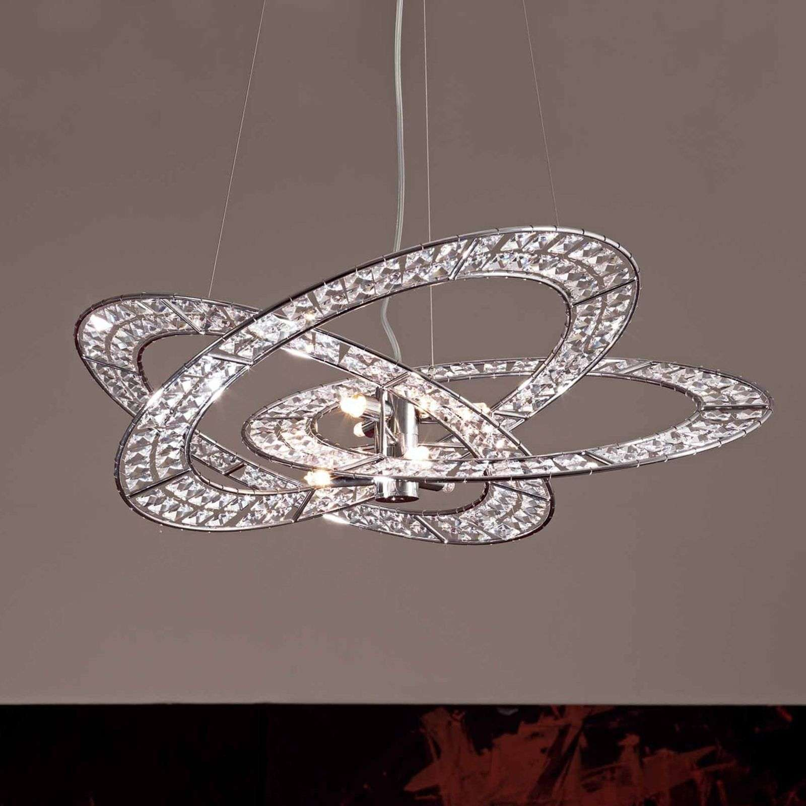 Belle suspension cristal Trilogy à 9 lampes clair