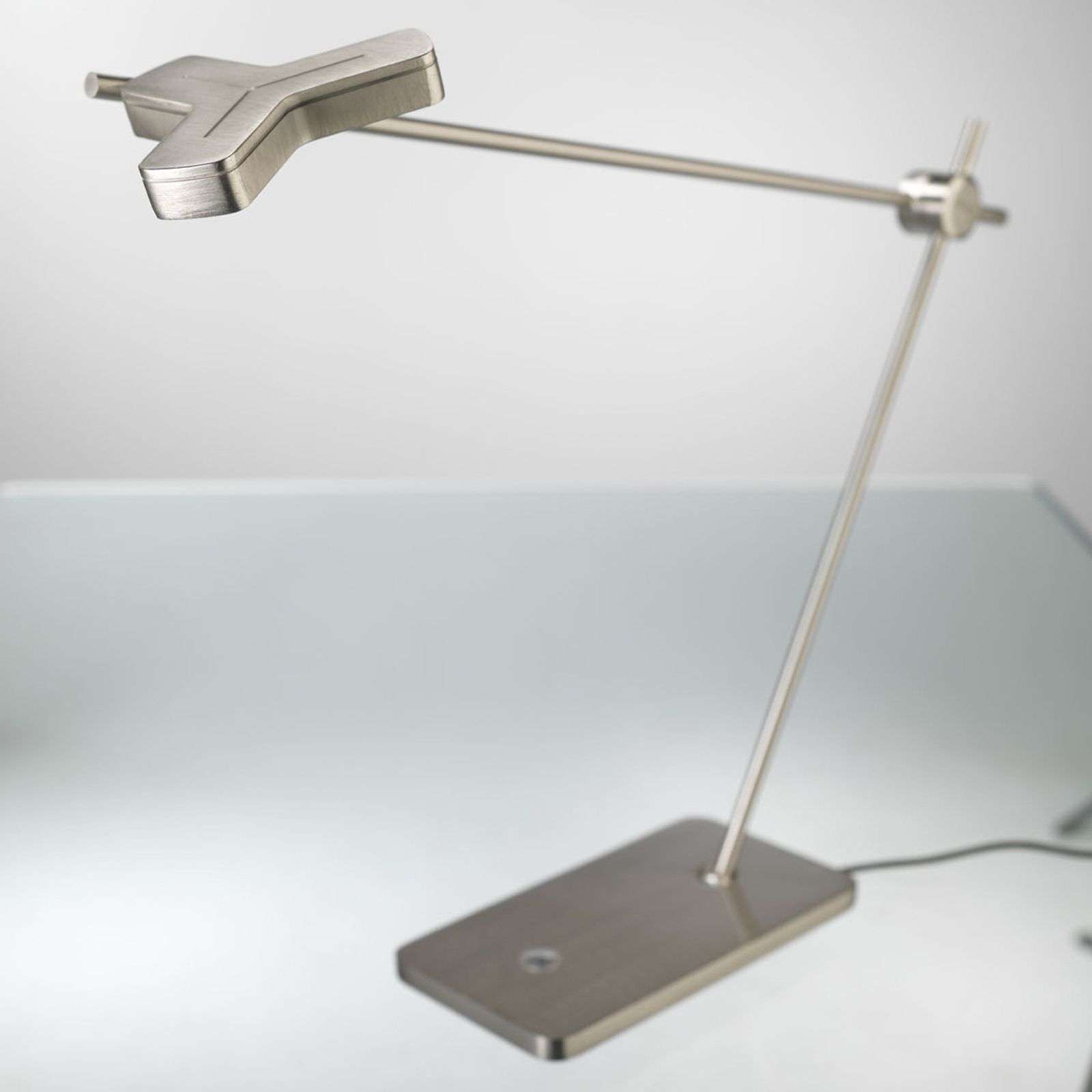 Superbe lampe à poser LED MOX M3010 nickel mat