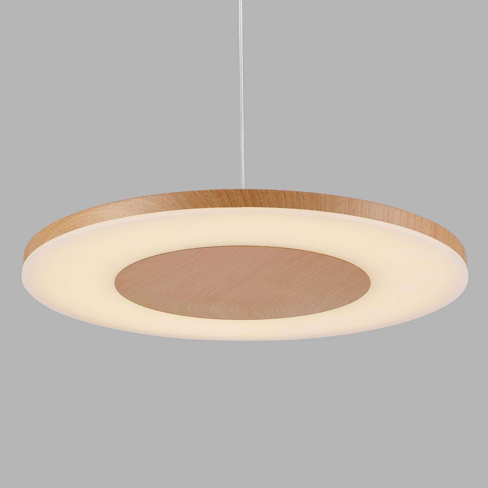 Suspension LED Discobolo couleur bois