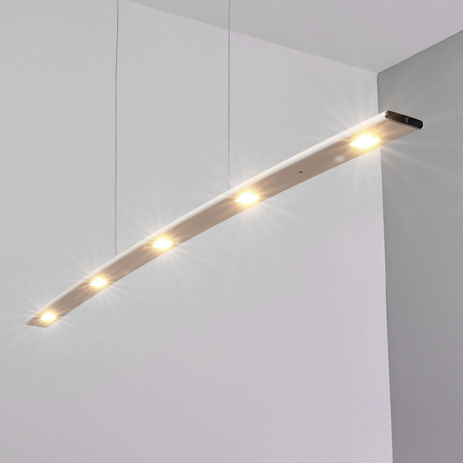 Suspension blanche LED Gina en laiton - variable