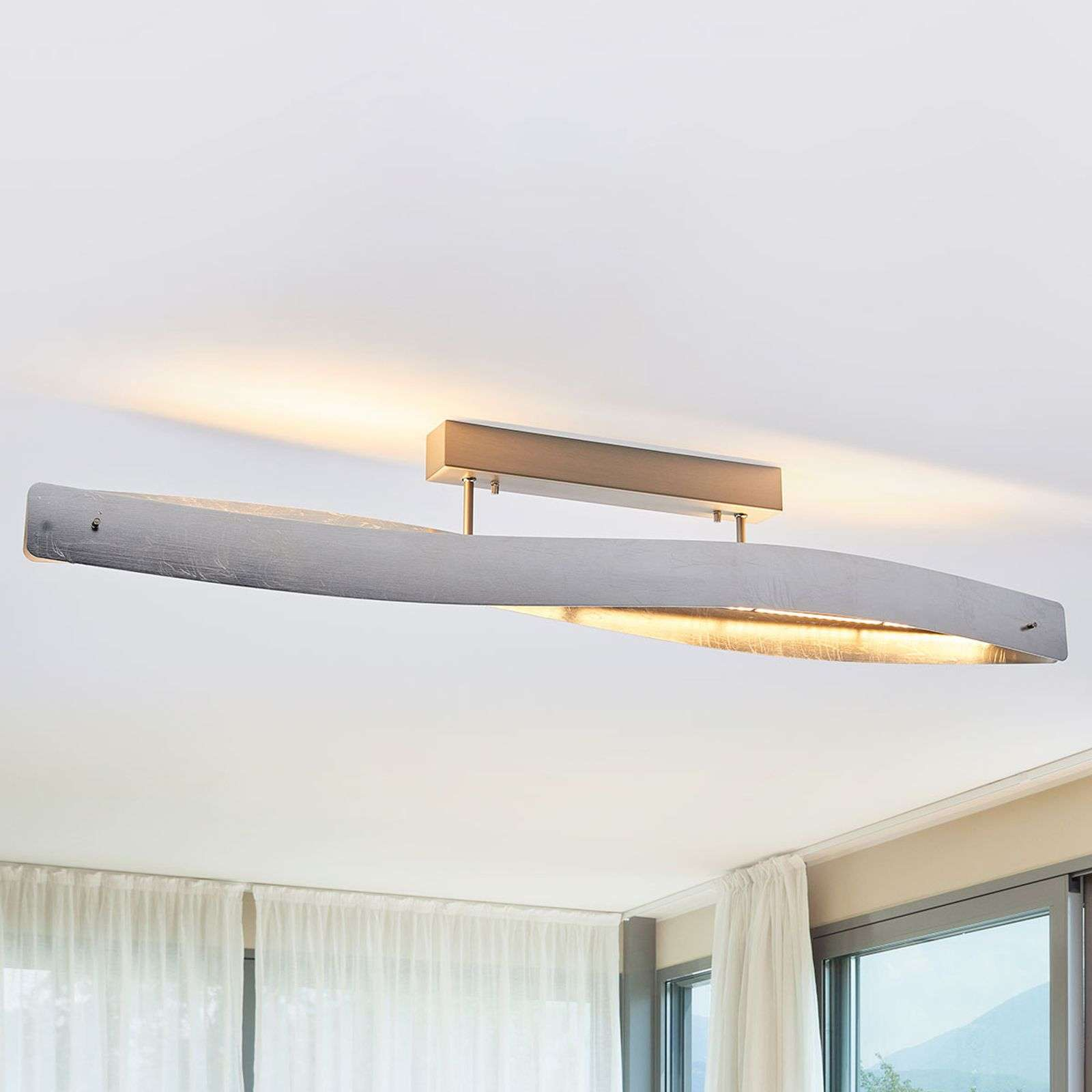 Plafonnier LED argenté brillant Lian, dimmable