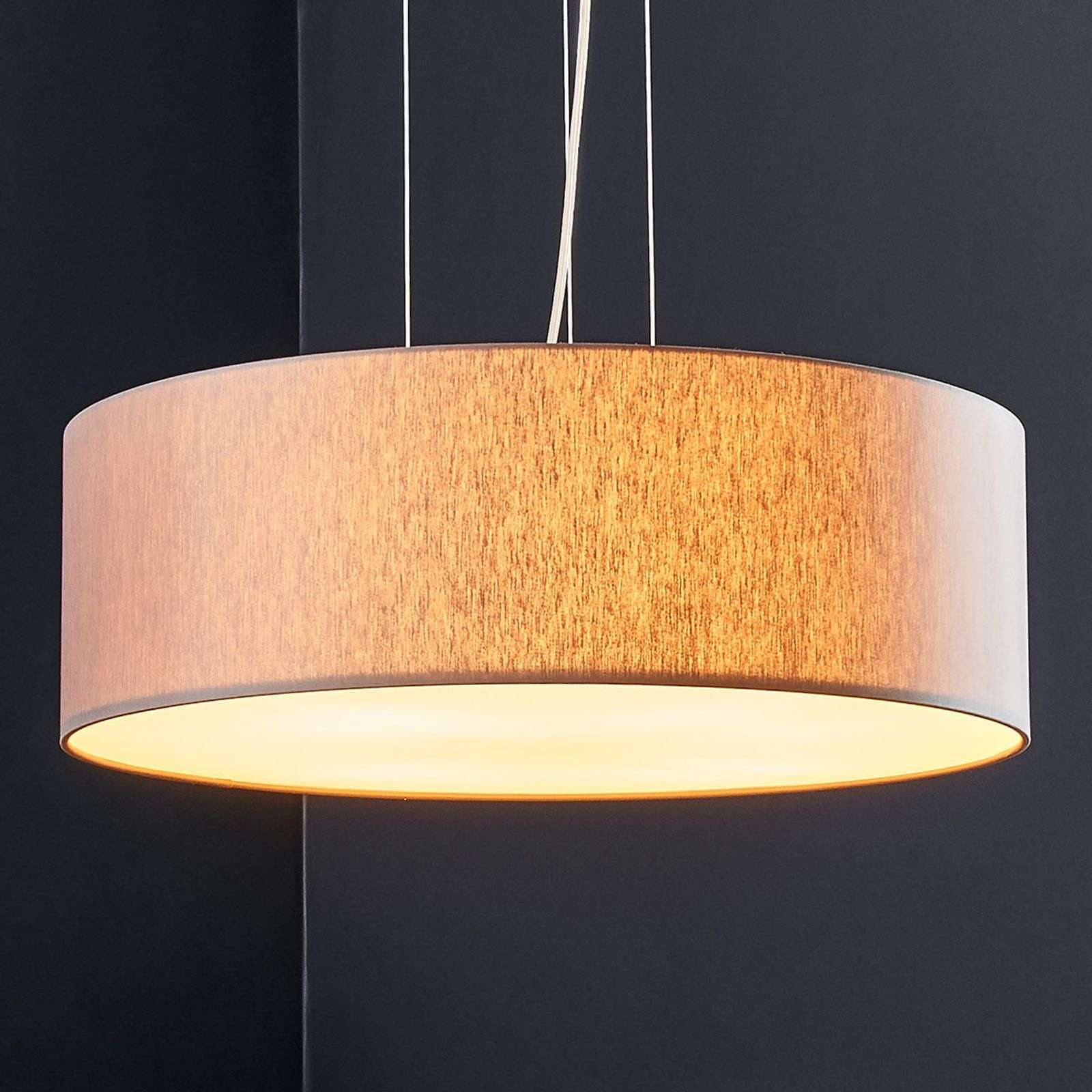 Suspension LED Gala, tissu couleur taupe