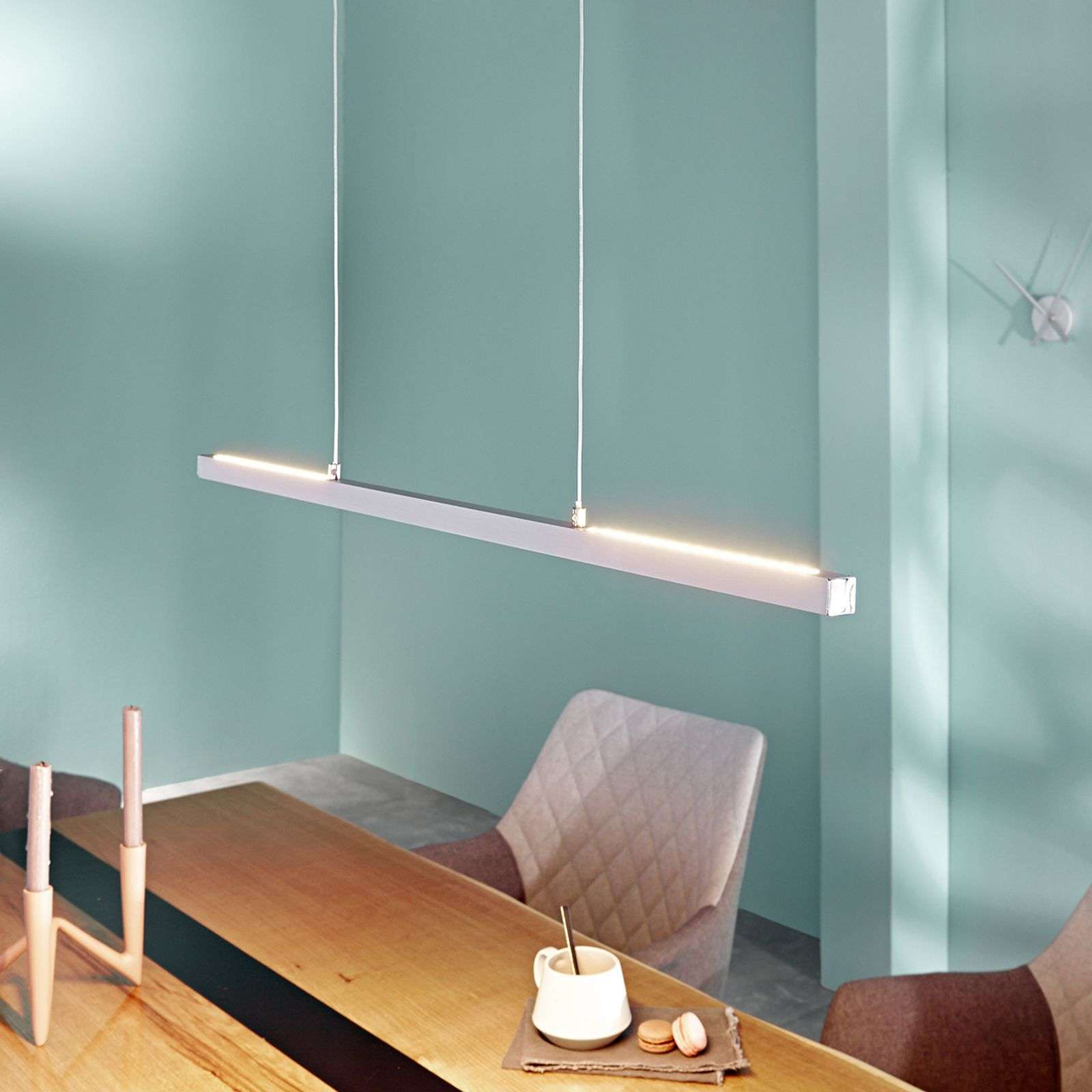 Suspension LED Rico, dimmable, alu mat, 78 cm
