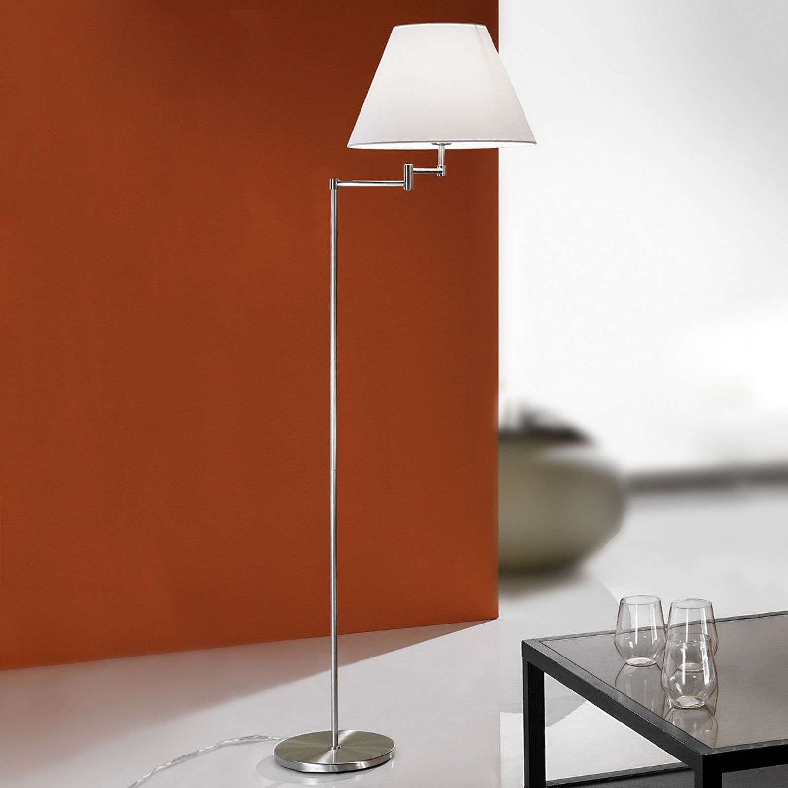 Noble lampadaire RIA, nickel mat