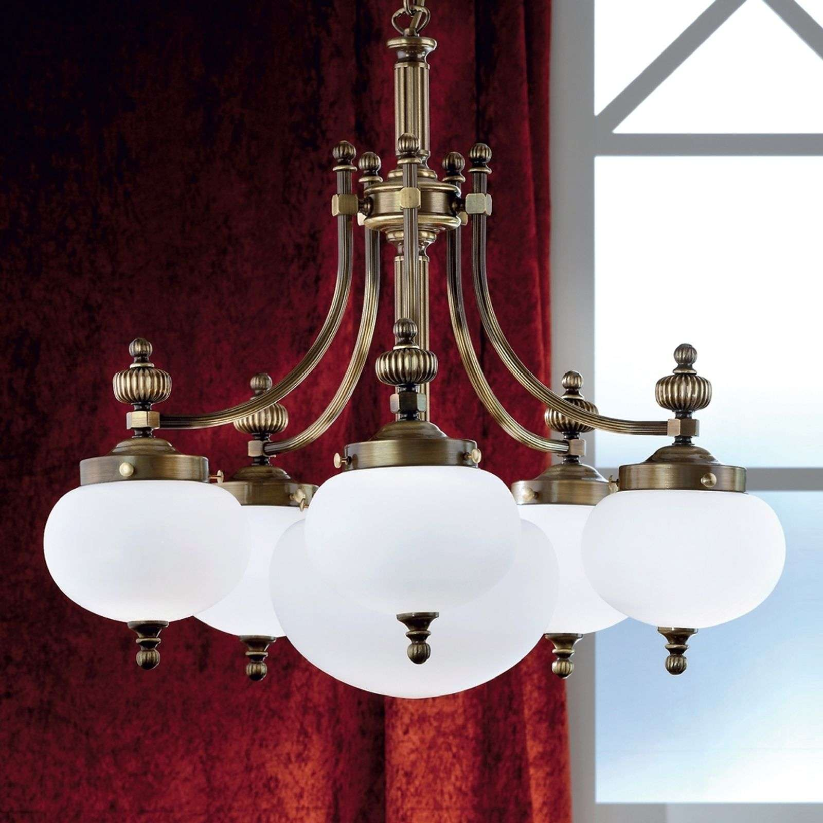 Suspension 6 lumières noble DELIA, laiton ancien