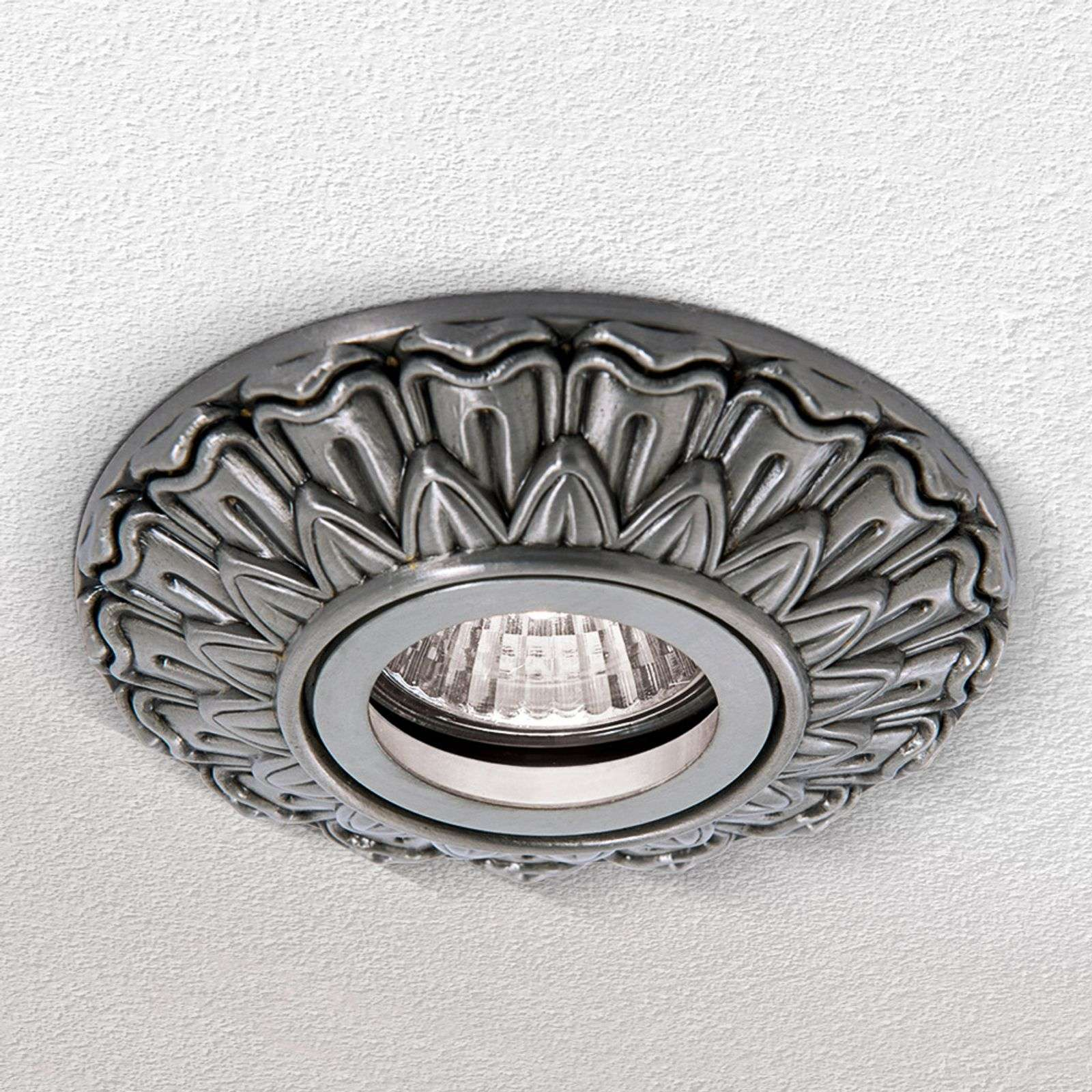 Plafonnier encastrable Sada carré argent antique