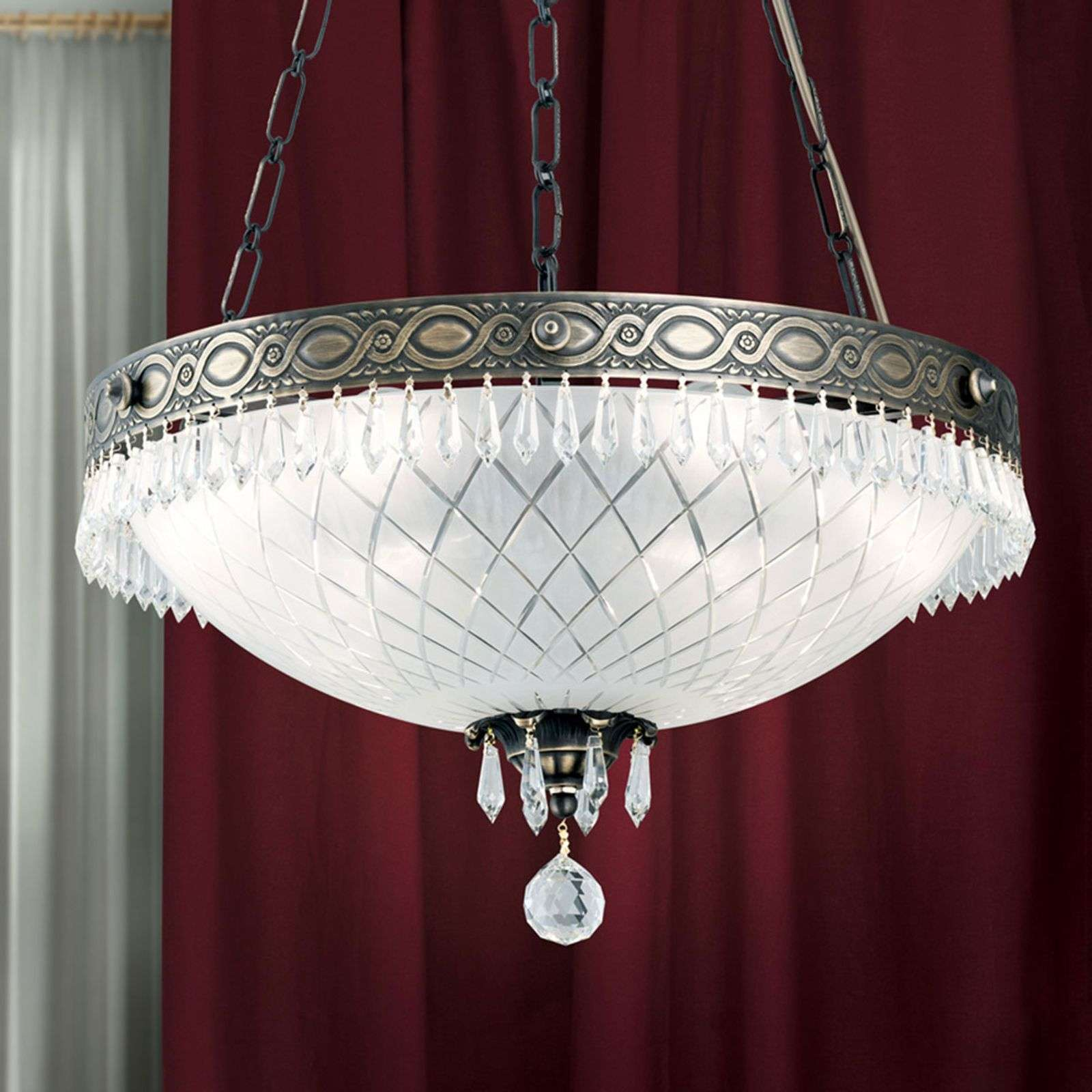 Suspension Empire Crystal patine ancienne