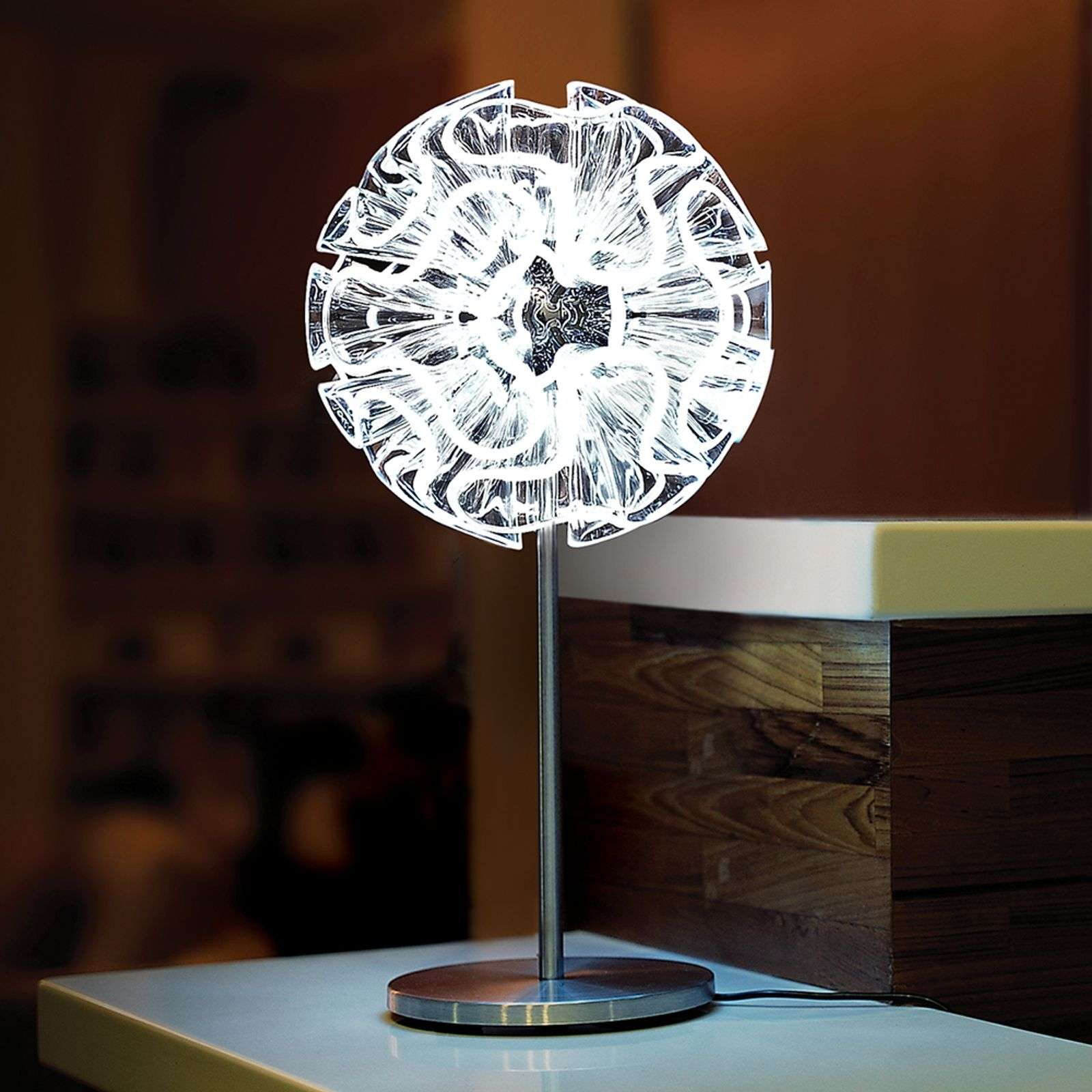 Lampe de table design Coral avec LED, transparent