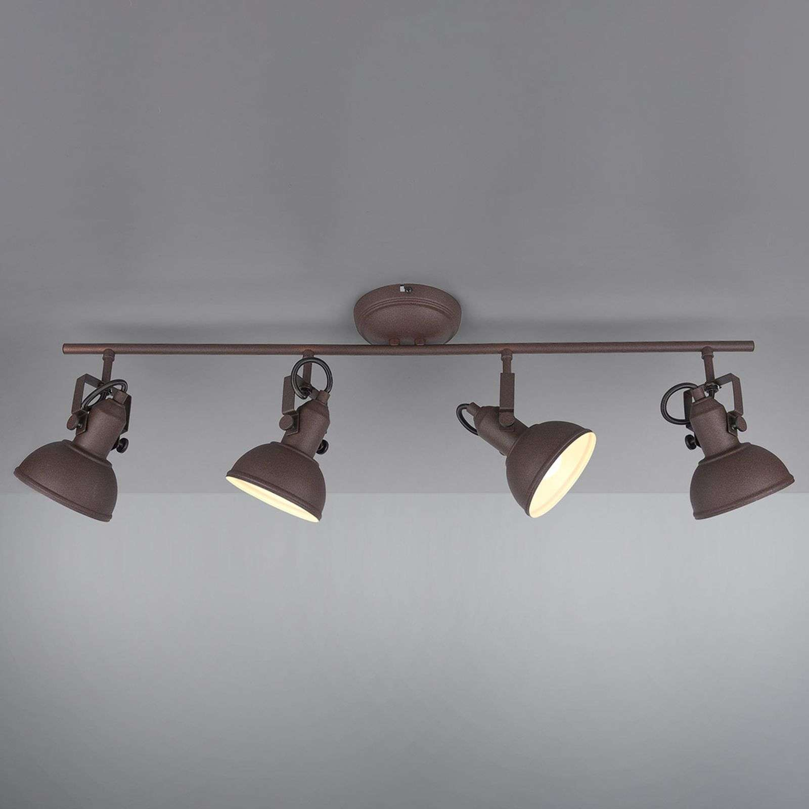 Plafonnier Gina, brun rouille, 4 lampes