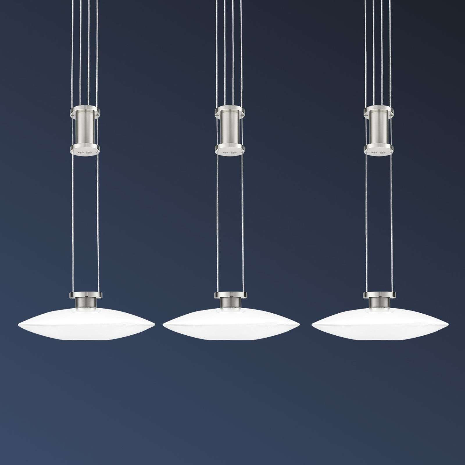 Suspension LED New Elina Nickel à trois lampes