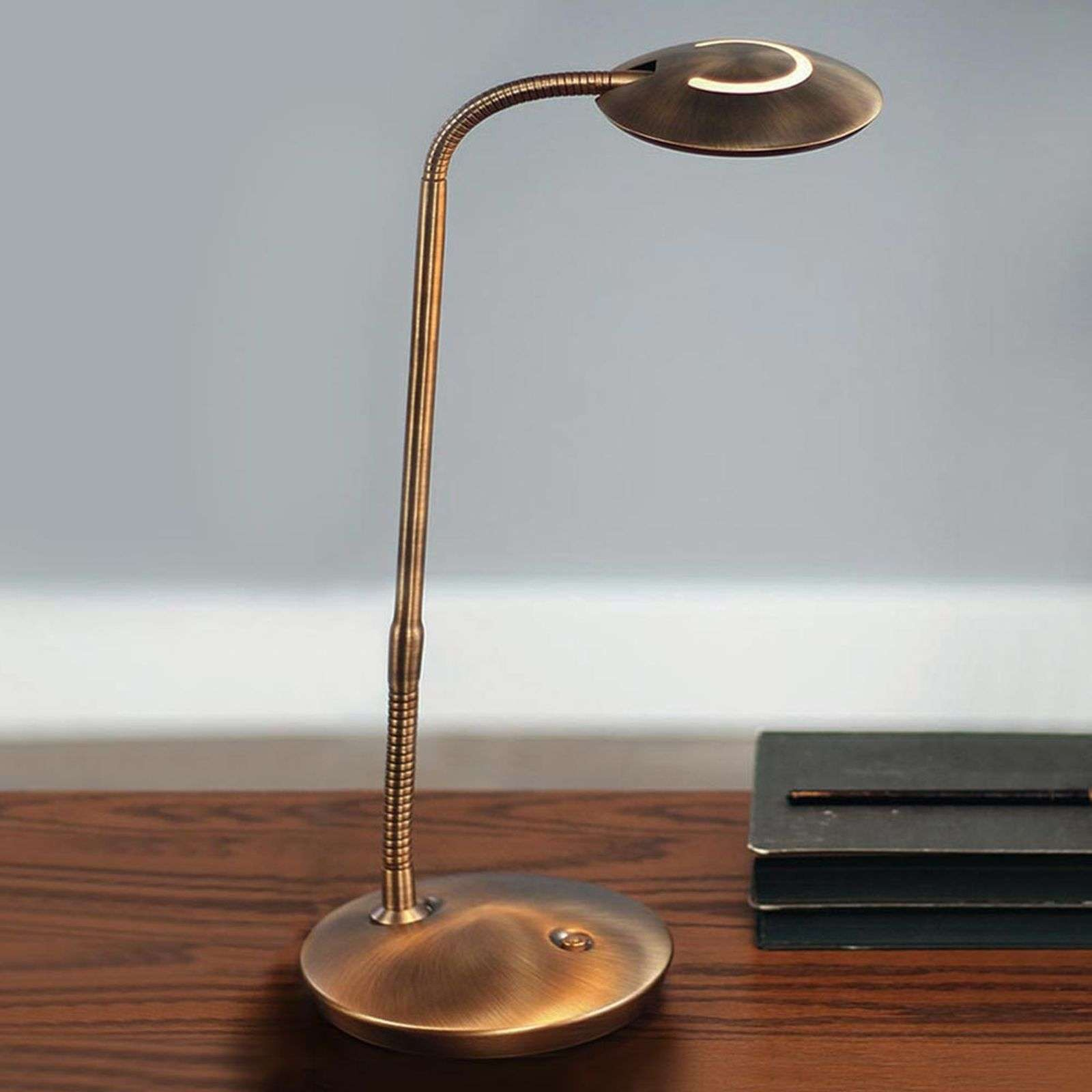 Lampe à poser LED Zenith en bronze dimmable