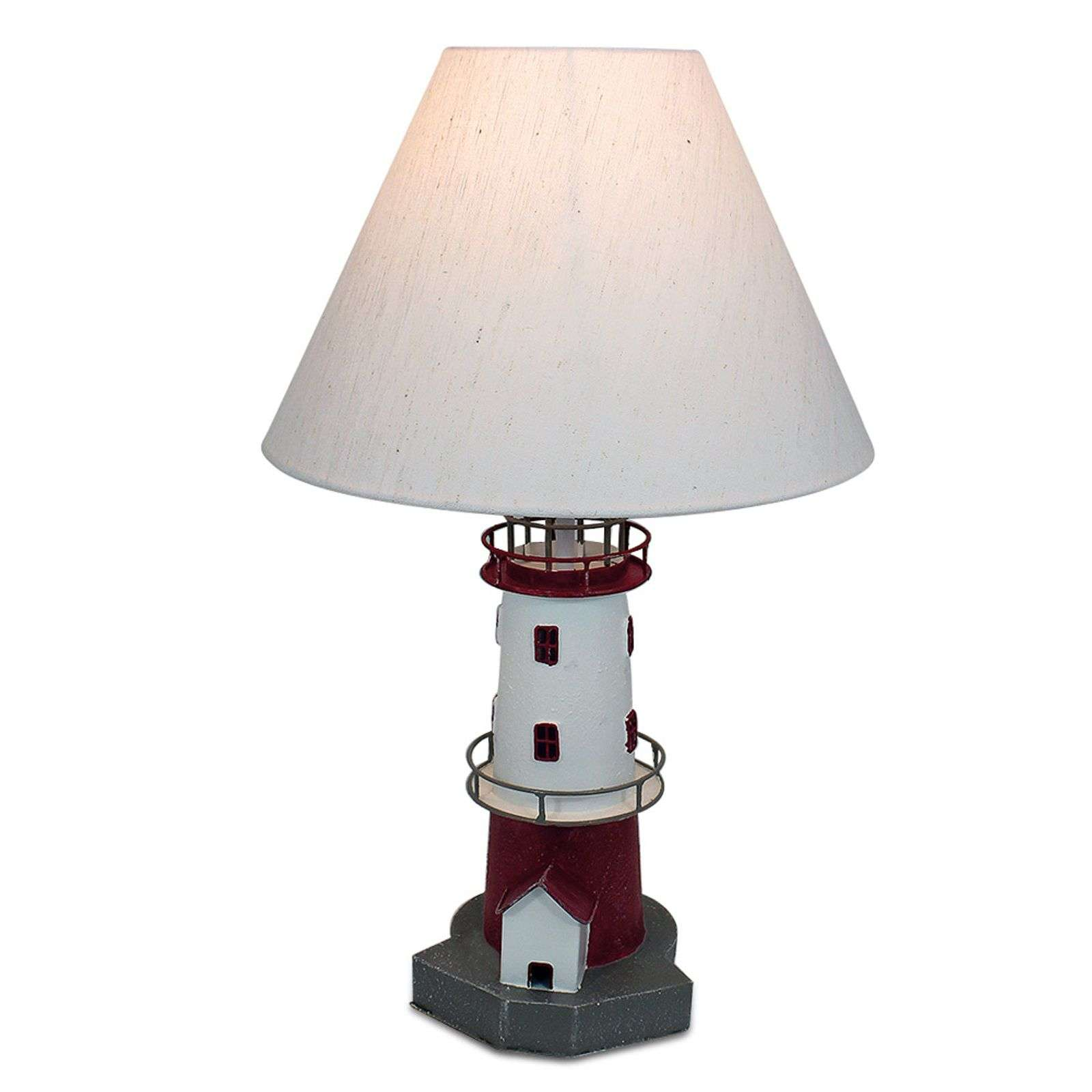 Lampe à poser phare à rayures rouges Piet